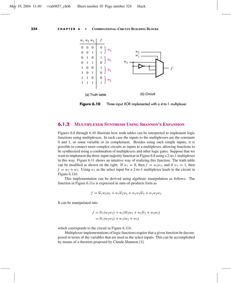 Combinational Circuit Building Blocks Pdf Multiplexer Logic Diagram And Truth Table Illustrate How Tables Can Be Interpreted To Implement Unctions Using Multiplexers In Each