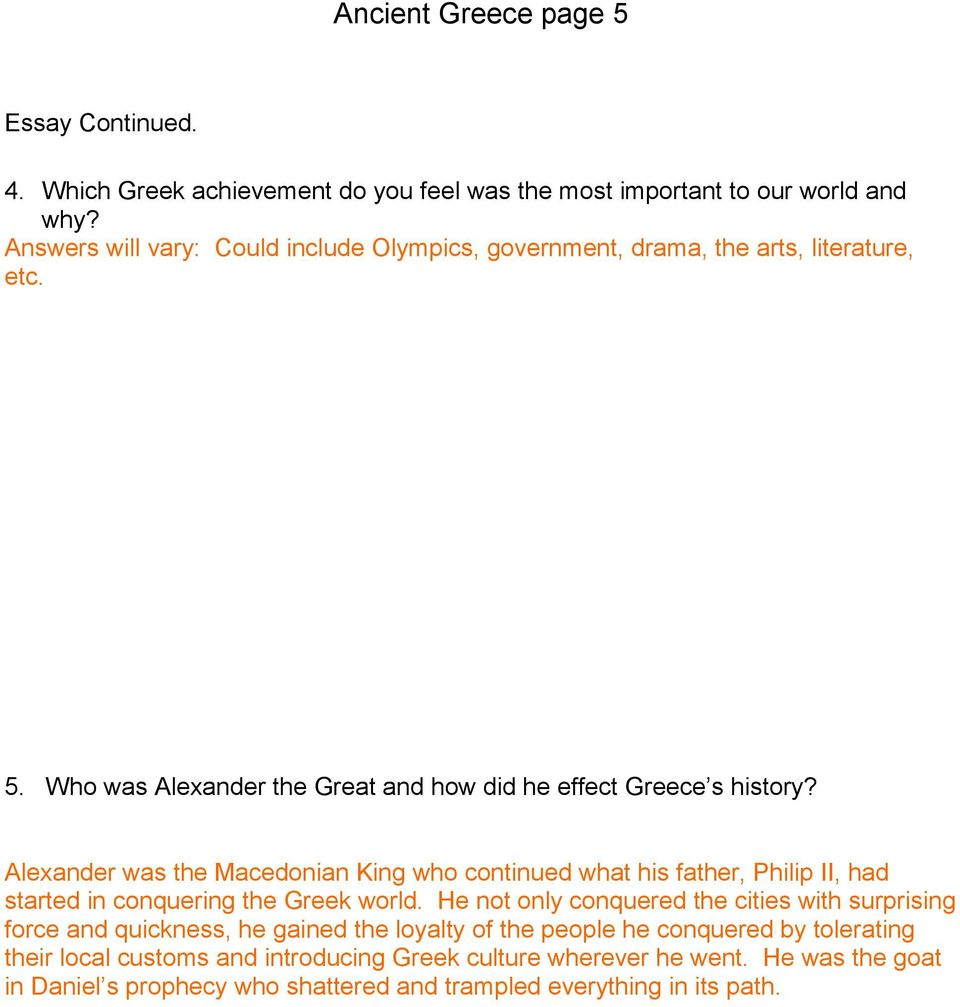 Business Essay Topics Alexander Was The Macedonian King Who Continued What His Father Philip Ii  Had Started Personal Essay Thesis Statement also Model Essay English Ancient Greece Unit Test  Pdf E Business Essay