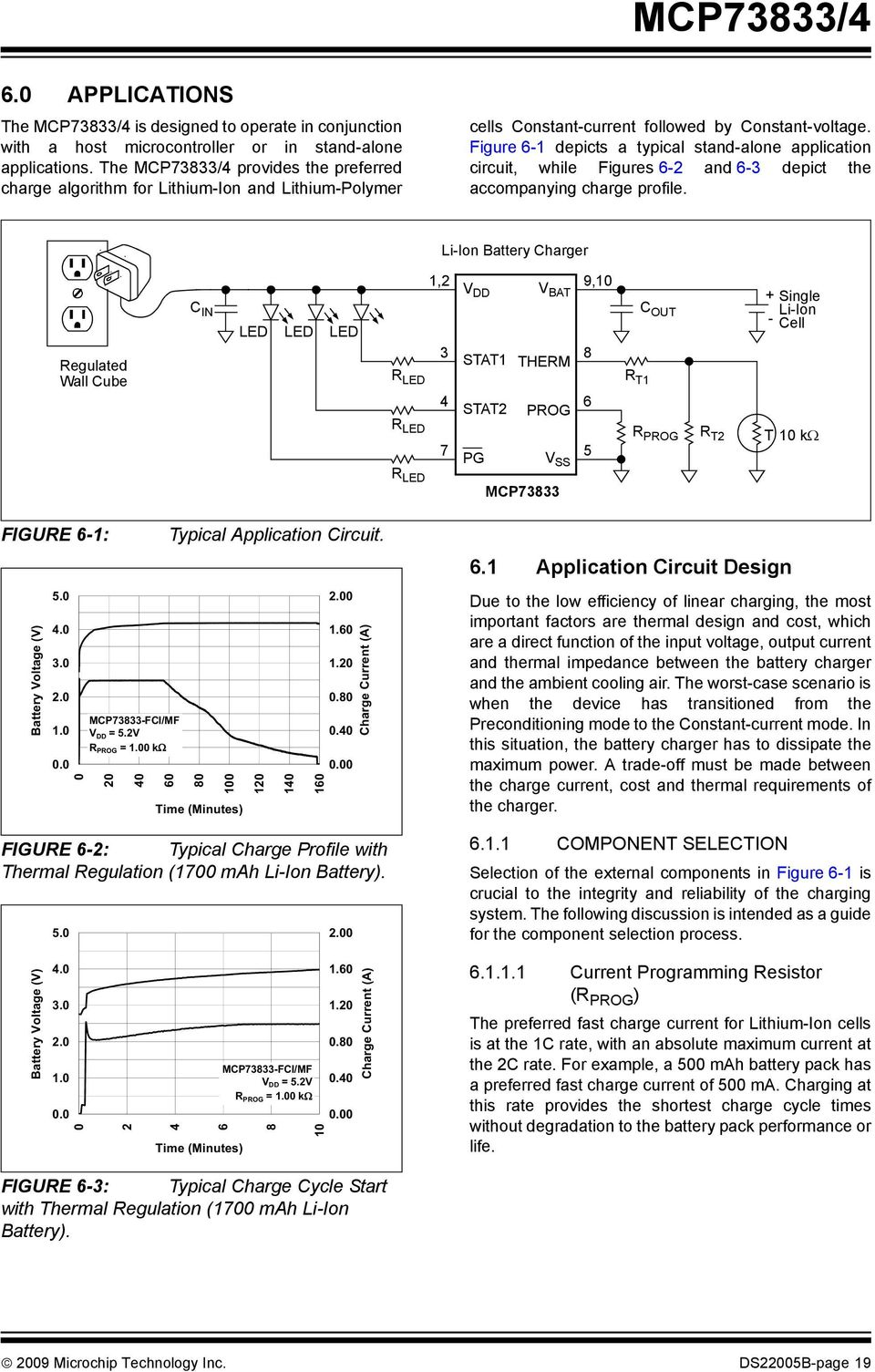 Mcp73833 4 Stand Alone Linear Li Ion Polymer Charge Management Liion Battery Charger Circuit Diagram Figure 6 1 Depicts A Typical Application While Figures