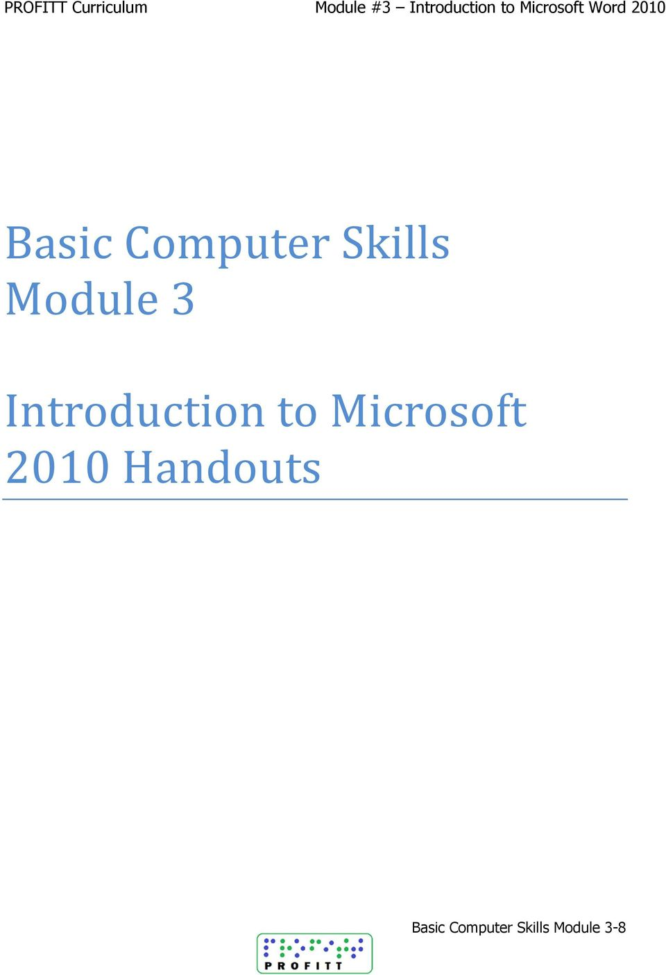 Skills Module 3 Introduction to Microsoft