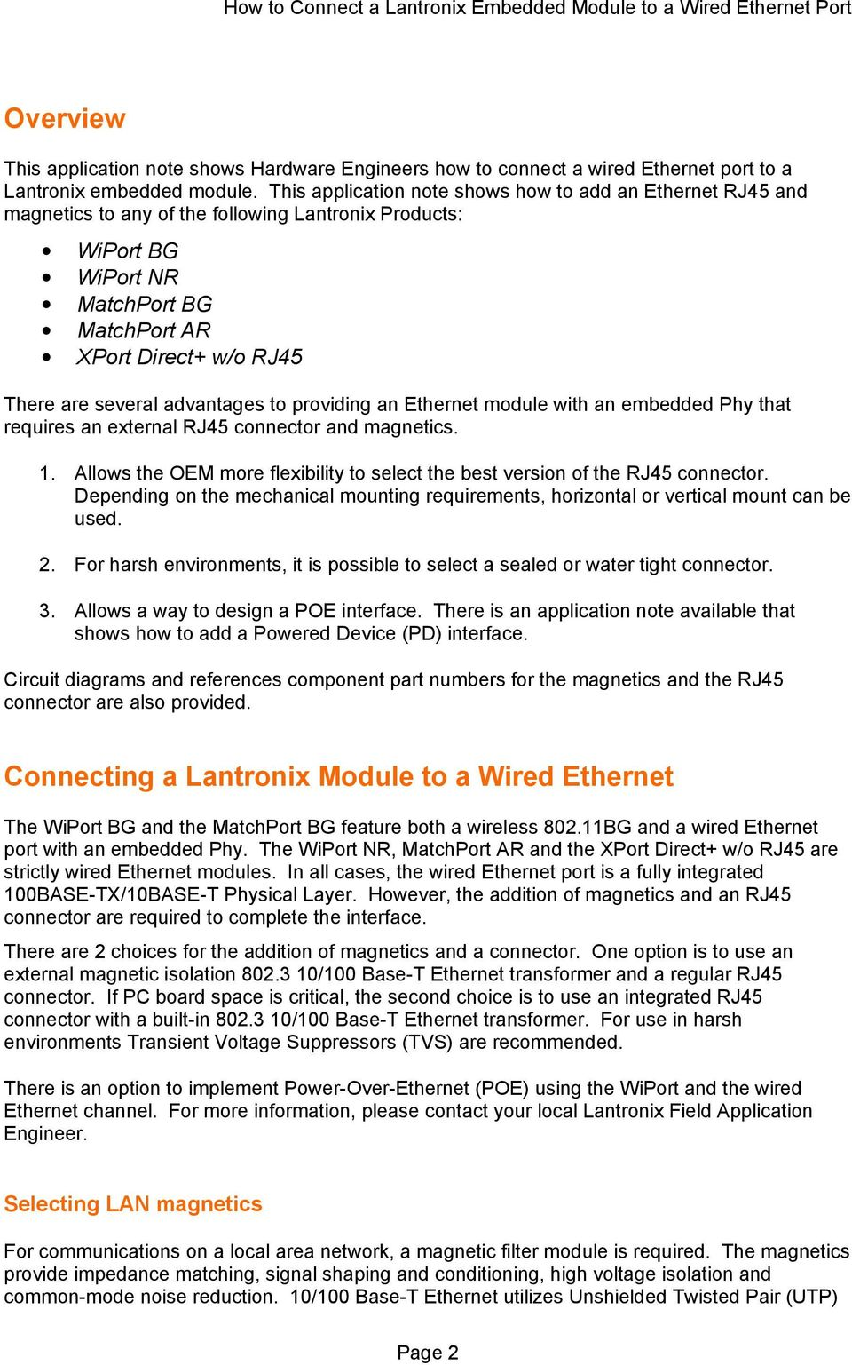 Application Note How To Connect A Lantronix Embedded Module 100 Mbps Rj45 Wiring Diagram Advantages Providing An Ethernet With Phy That Requires External Connector