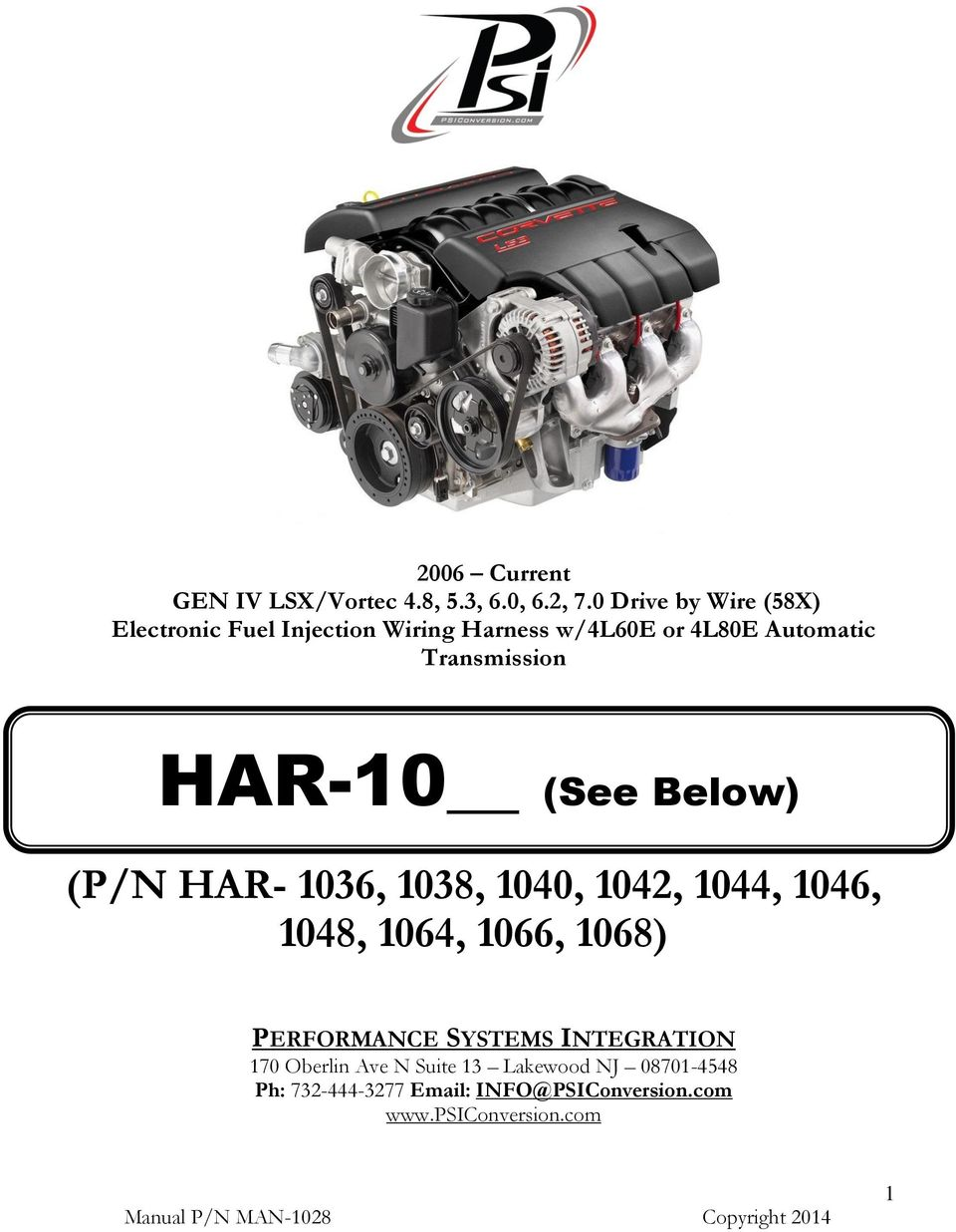 Performance Systems Integration Pdf 4l80e Wiring Harness Transmission Har 10 See Below P N 1036