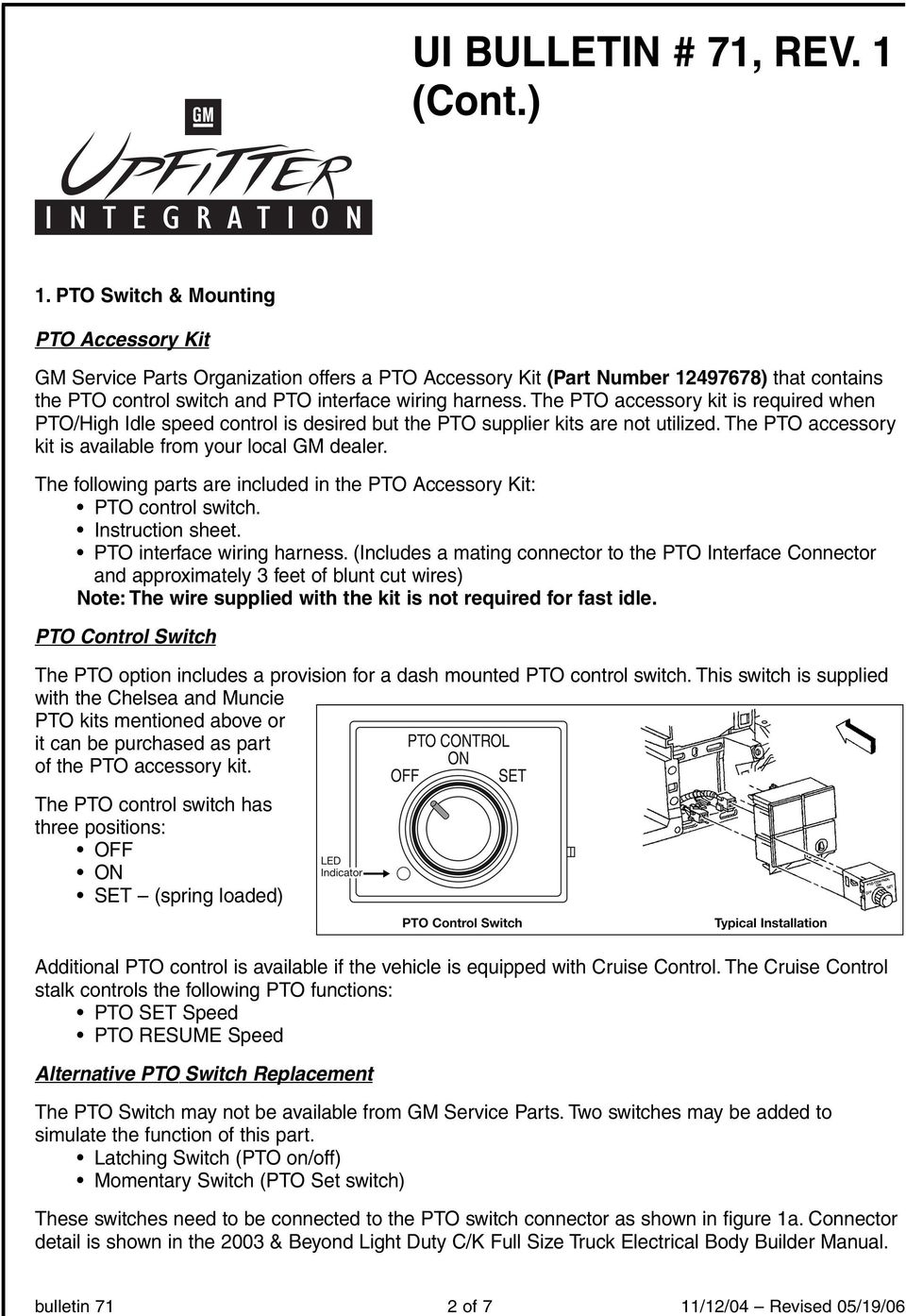 Ui Bulletin 71 Rev 1 Pdf Gm Wire Harness Parts The Following Are Included In Pto Accessory Kit Control Switch Instruction