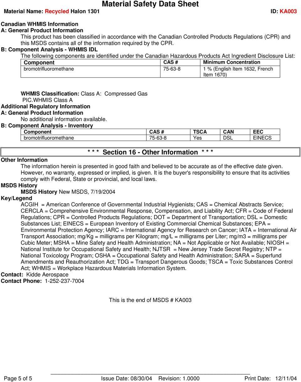 Material Safety Data Sheet Material Name: Recycled Halon PDF