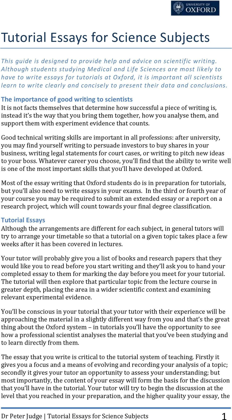 What Is The Thesis In An Essay  Autobiography Essay Examples also Synthesis Essay Topics Tutorial Essays For Science Subjects  Pdf Descriptive Essay
