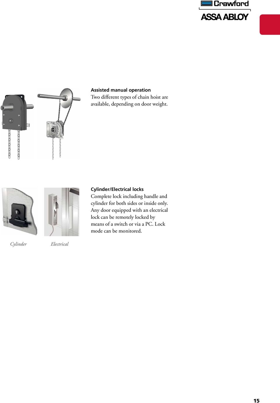Crawford Product Catalogue Pdf Assa Abloy Wiring Diagrams Cylinder Electrical Locks Complete Lock Including Handle And For Both Sides Or