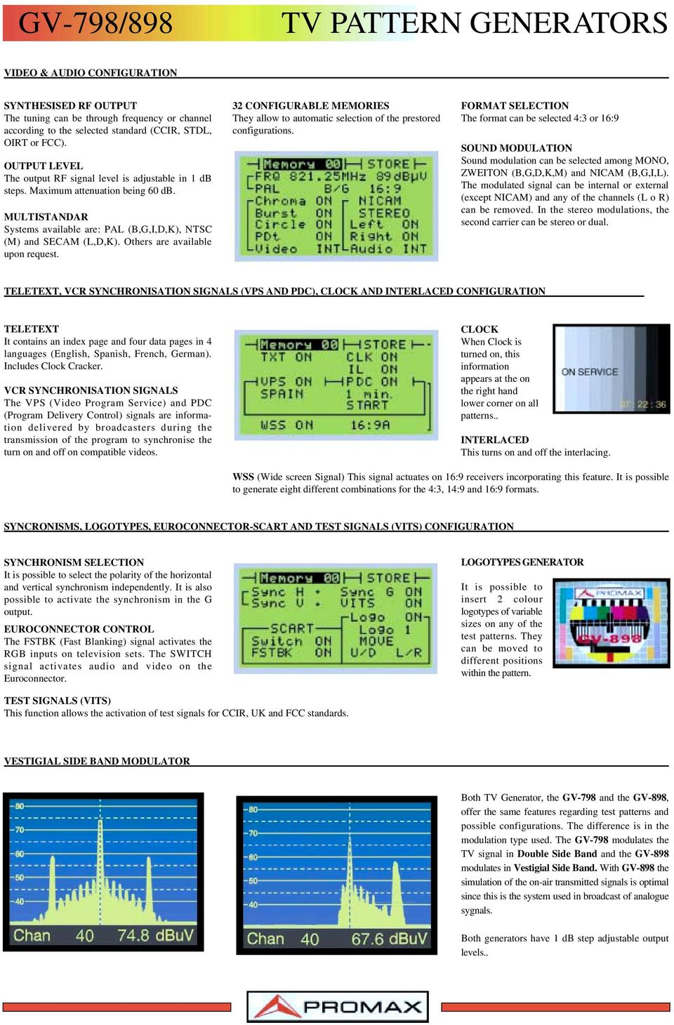 Tv Monitor Pattern Generators Pdf Test Generator With Wireless Model Others Are Available Upon Request 32 Configurable Memories They Allow To Automatic Selection Of The