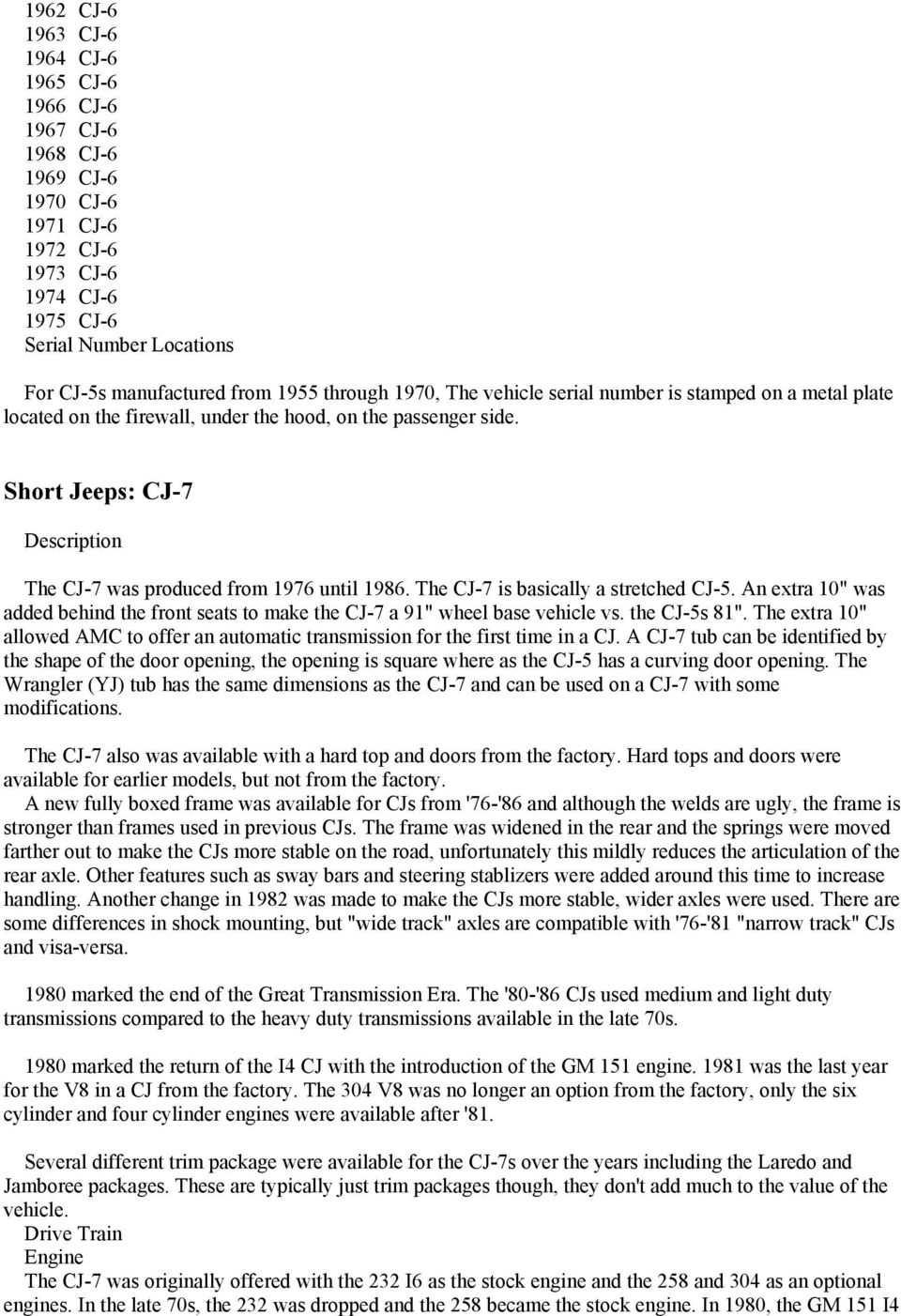 Identifying Jeeps  Military Jeeps: M38  Military Jeeps: M38A1  - PDF