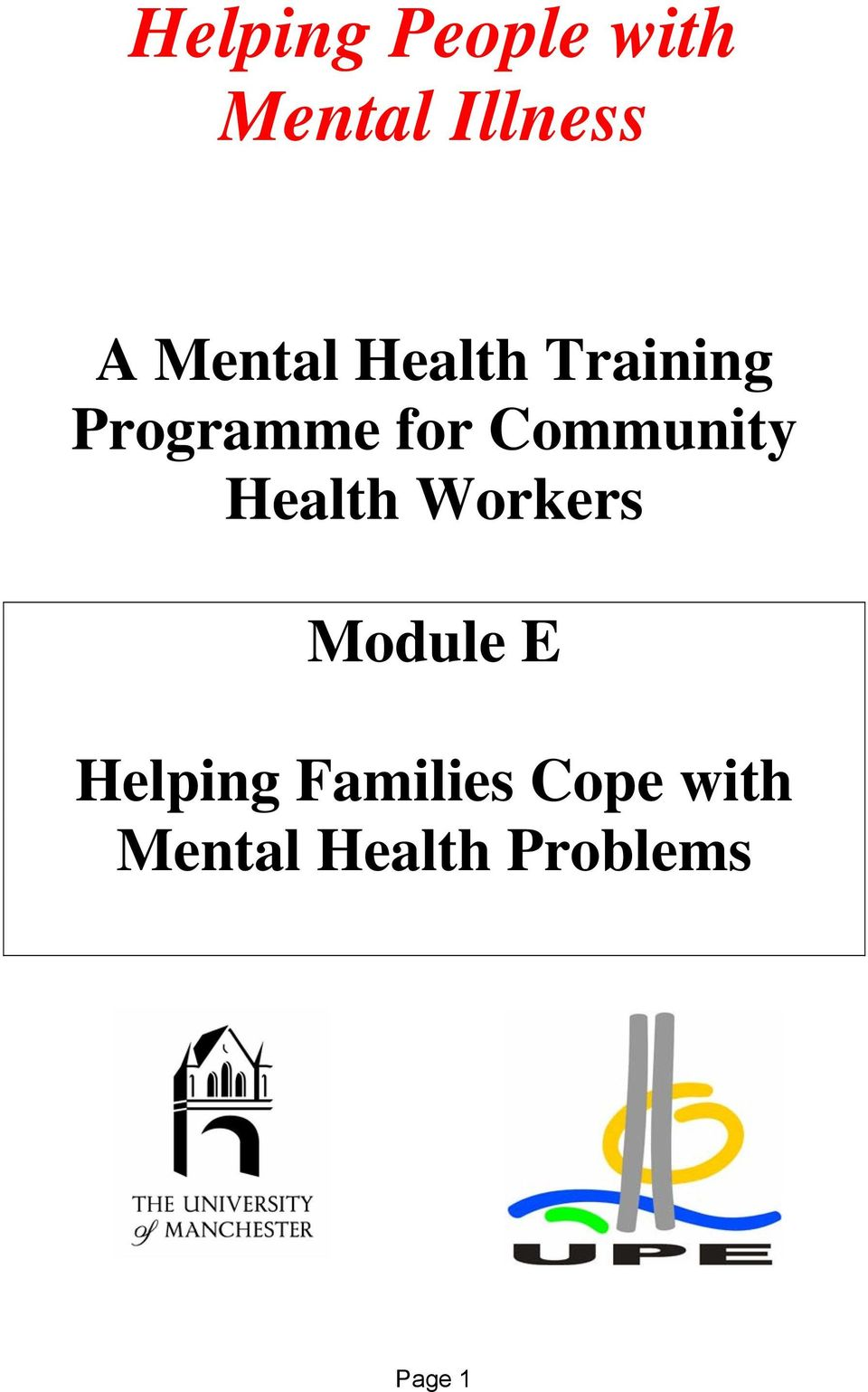 Community Health Workers Module E