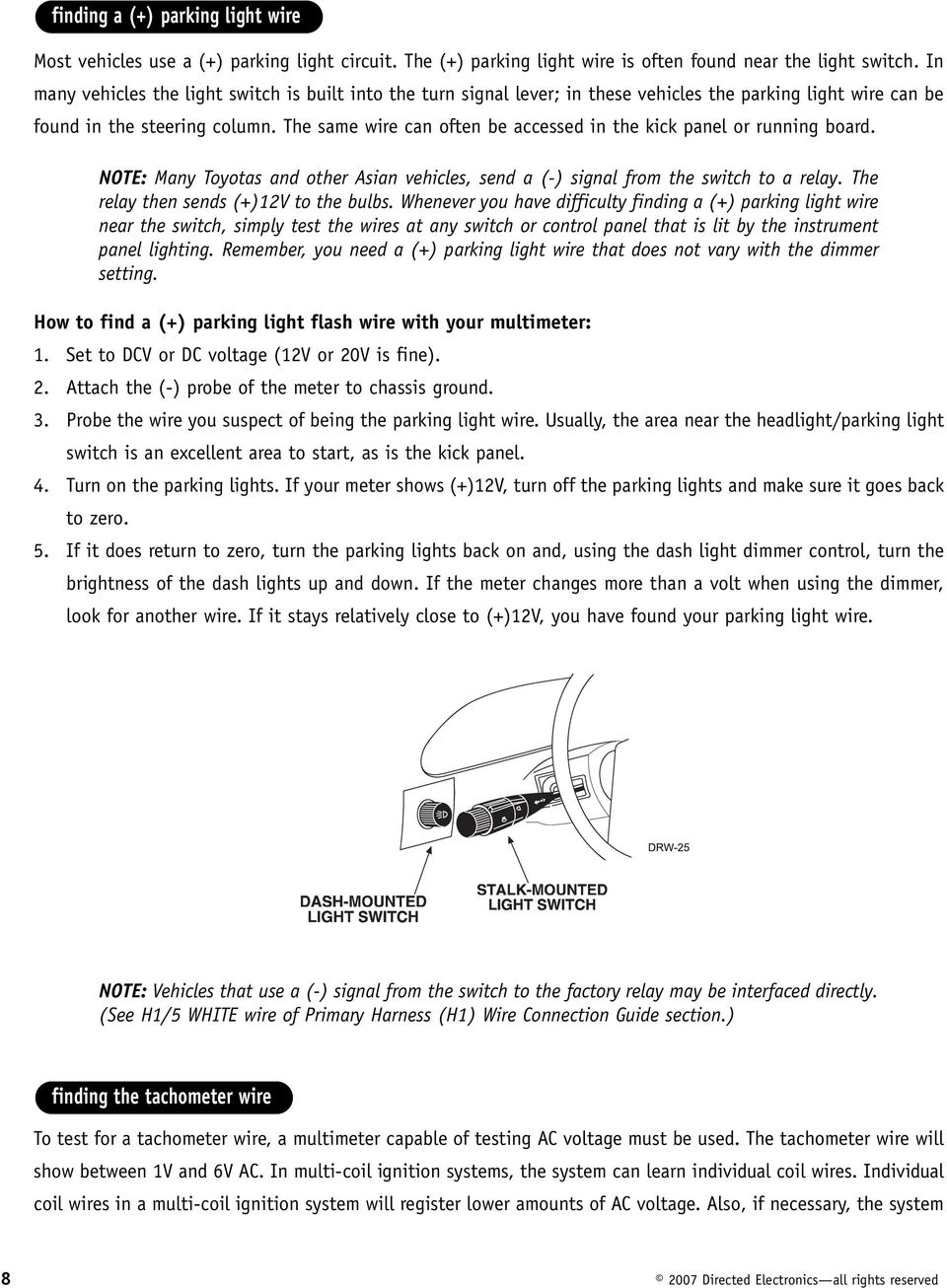 Model Am62 Installation Guide Pdf Dodge Plymouth Neon Instrument Cluster Circuit Board No Tach 95 96 97 The Same Wire Can Often Be Accessed In Kick Panel Or Running Note