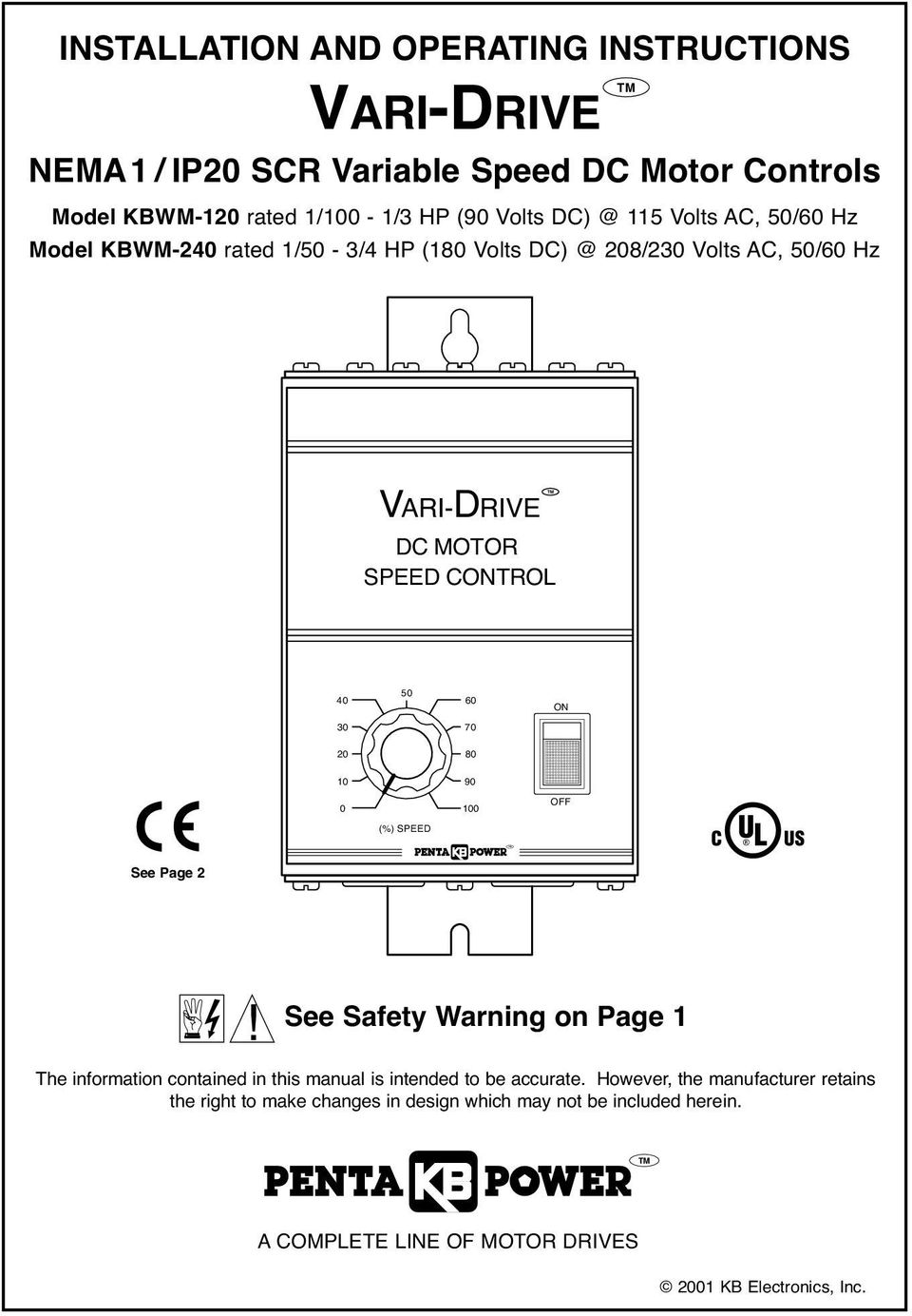 Vari Drive Nema1 Ip20 Scr Variable Speed Dc Motor Controls Pdf Ac Picture Control Of Using 30 70 20 80 10 90 0 100 Off See Page 2
