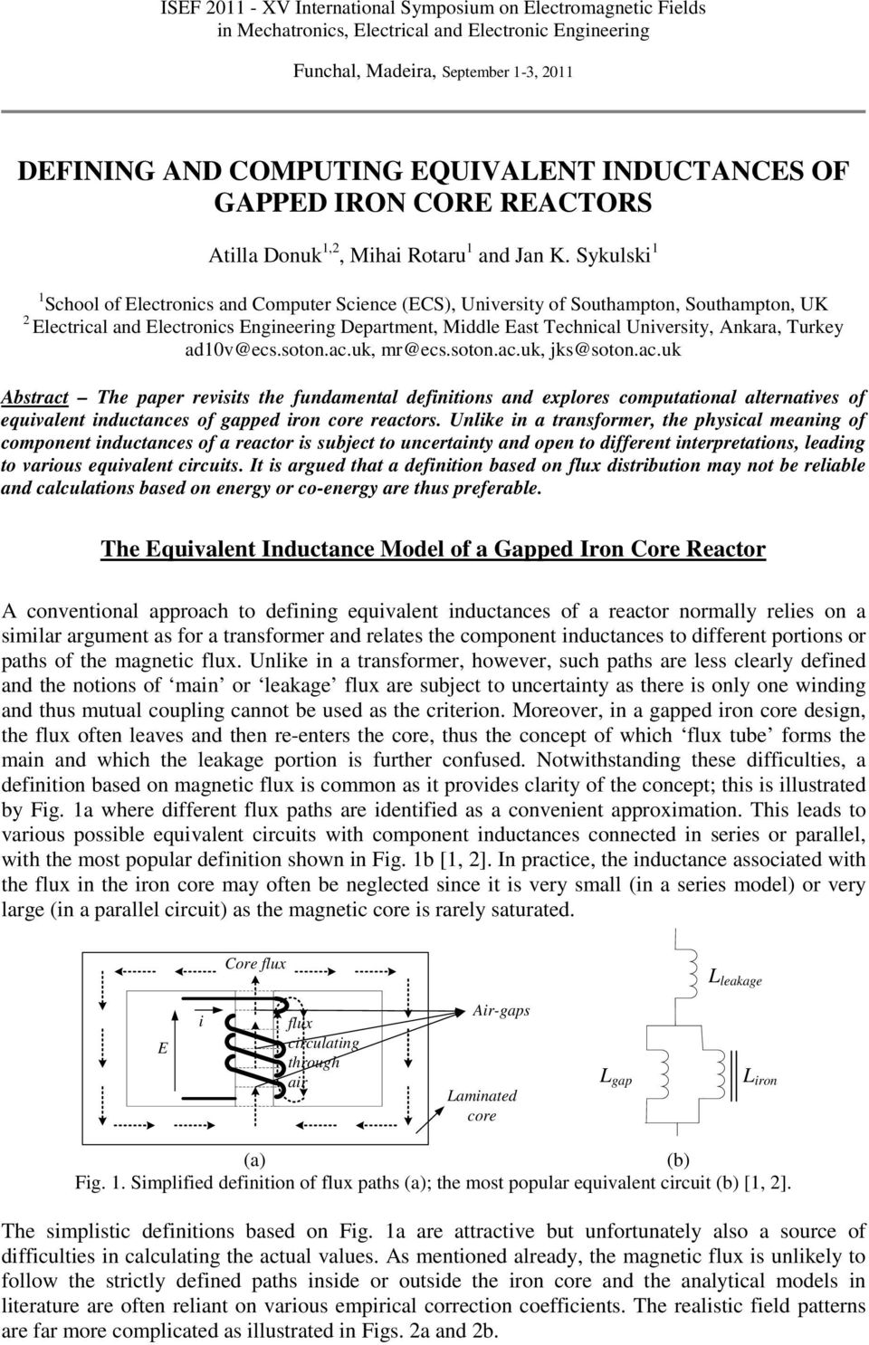Defining And Computing Equivalent Inductances Of Gapped Iron Core The Inductance Following Inductive Circuit Sykulski School Electronics Computer Science Ecs University Southampton