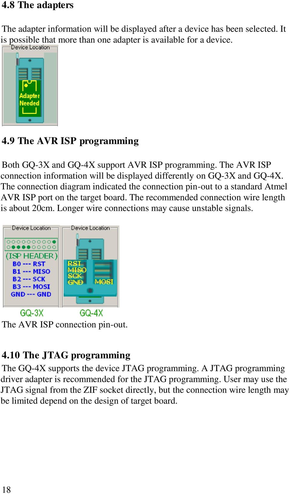 Gq Usb Universal Programmer User Guide Pdf Jtag Wiring Diagram The Connection Indicated Pin Out To A Standard Atmel Avr Isp Port