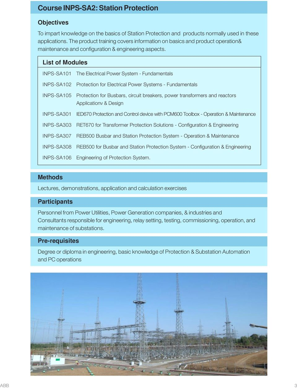 Protection and Substation Automation  Training Programmes - PDF