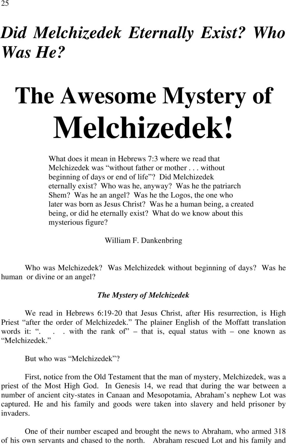 The Awesome Mystery of Melchizedek! - PDF