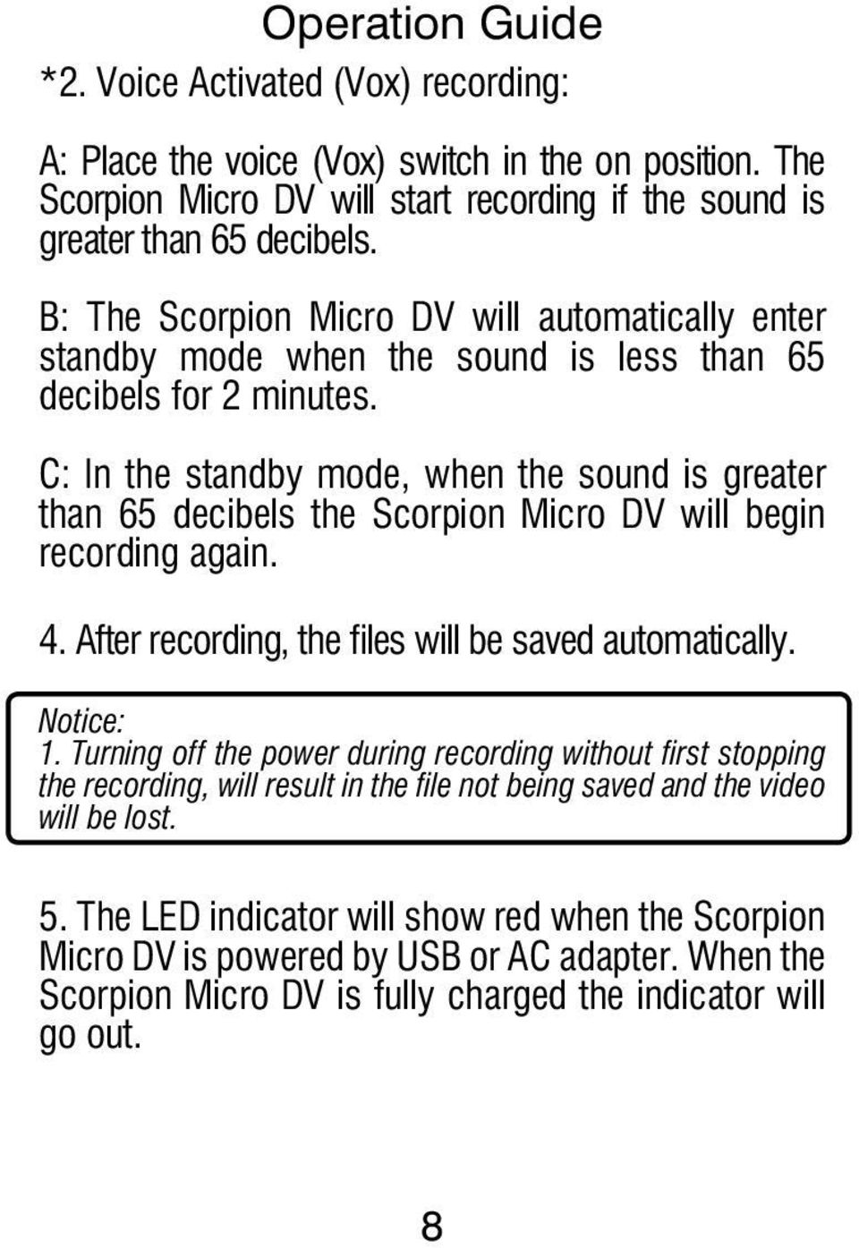 User Manual Pdf Voice Activated Switch Vox Kit C In The Standby Mode When Sound Is Greater Than 65 Decibels