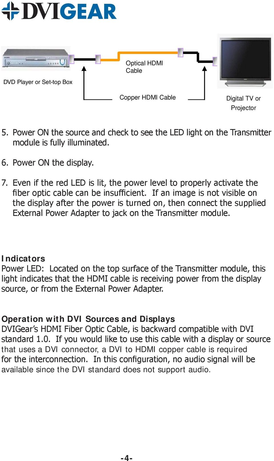 If an image is not visible on the display after the power is turned on, then connect the supplied External Power Adapter to jack on the Transmitter module.
