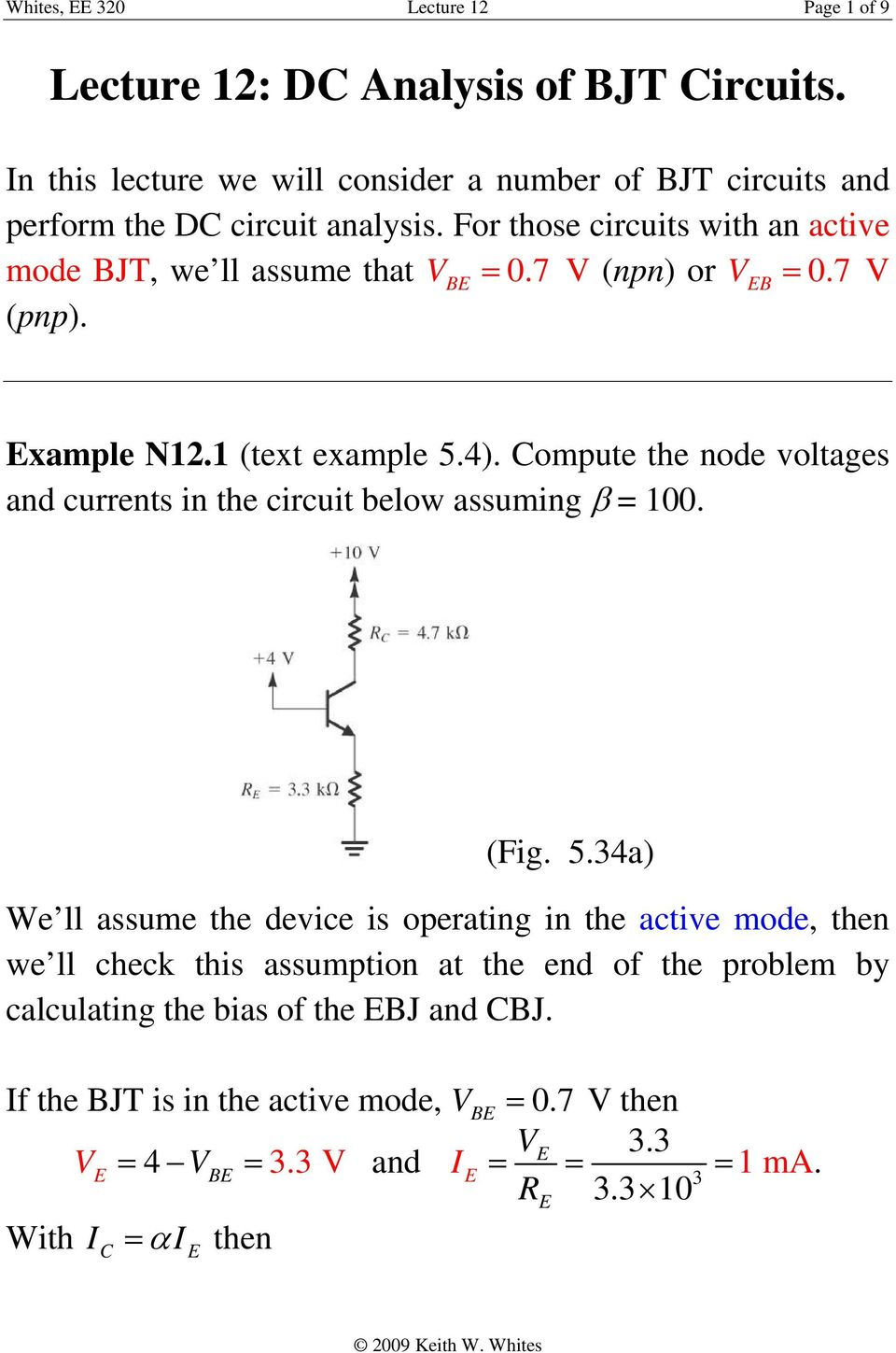 Lecture 12 Dc Analysis Of Bjt Circuits Pdf Circuit Solving Tutorial 5 Ompute The Node Voltages And Currents In Below Assuming 100