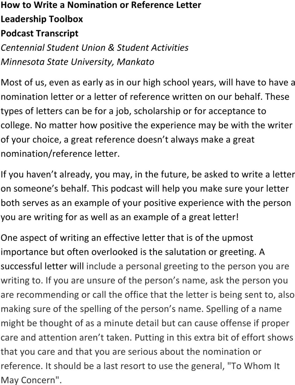 How To Start A Letter To Someone.How To Write A Nomination Or Reference Letter Leadership