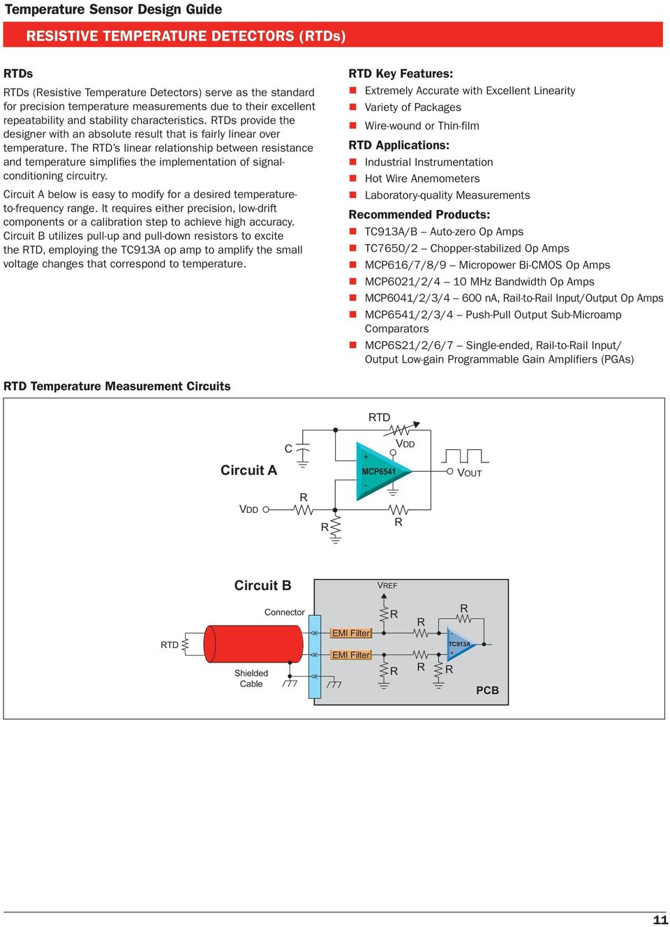 Temperature Sensor Design Guide Pdf Thermocouple Amplifier Circuit Diagram The Td S Linear Relationship Between Resistance And Simplifi Es Implementation Of Signalconditioning Circuitry