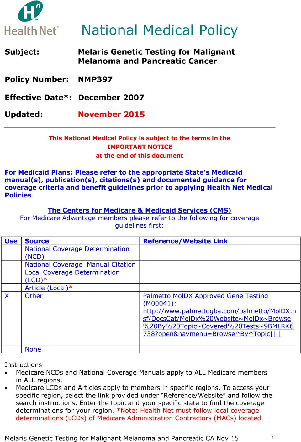 National Medical Policy - PDF