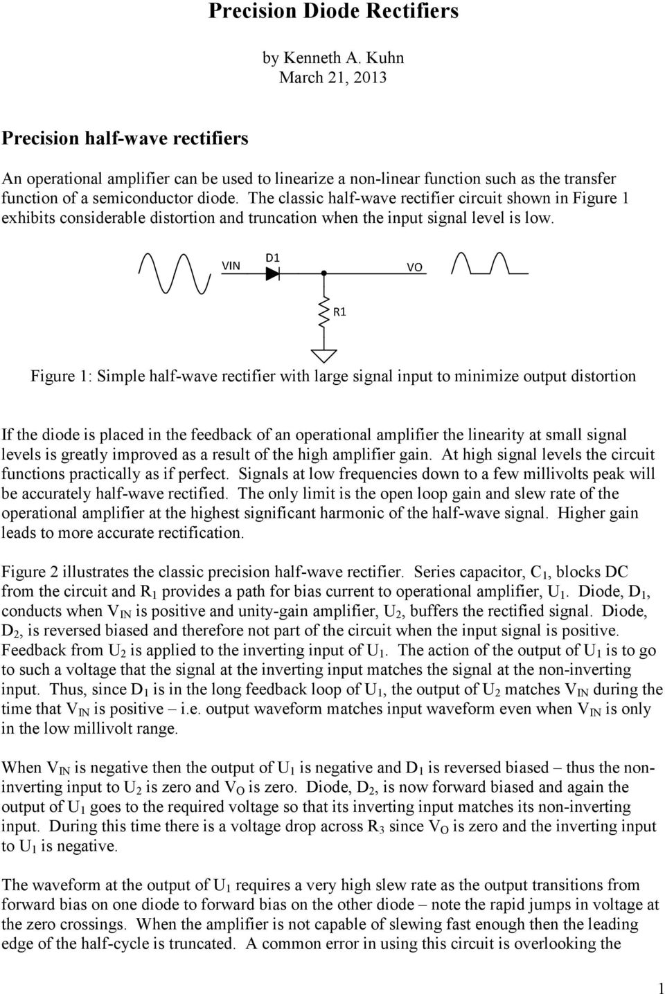 Precision Diode Rectifiers Pdf Halfwave Rectifier Topology The Circuit Is A Figure 1 Simple Half Wave With Large Signal Input To Minimize Output Distortion