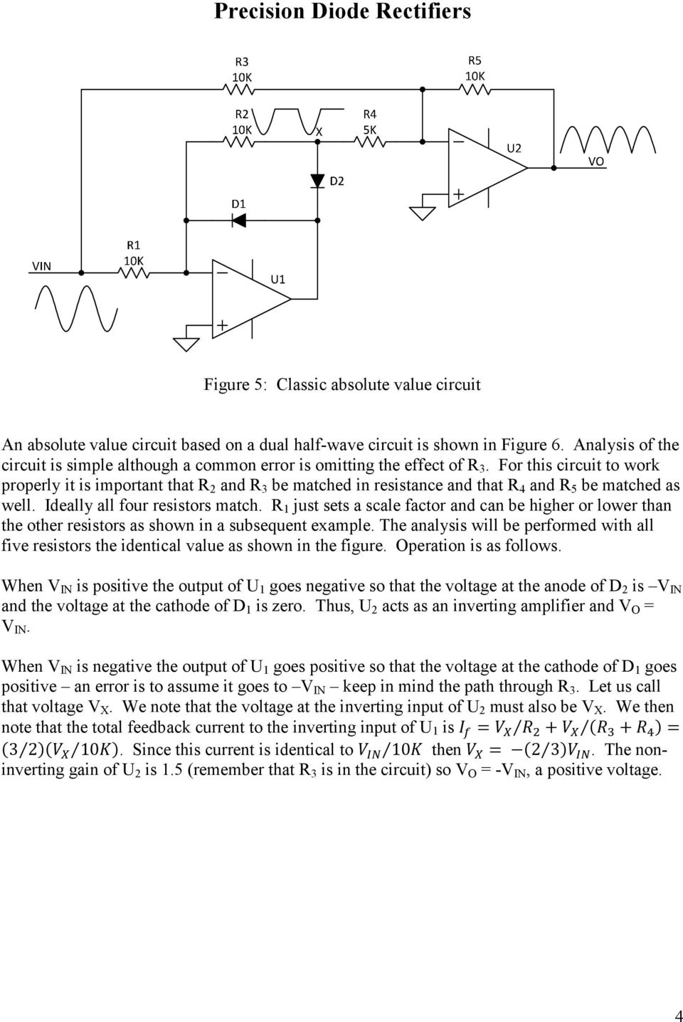 Precision Diode Rectifiers Pdf Rectifiercircuits2 For This Circuit To Work Properly It Is Important That R 2 And 3 Be