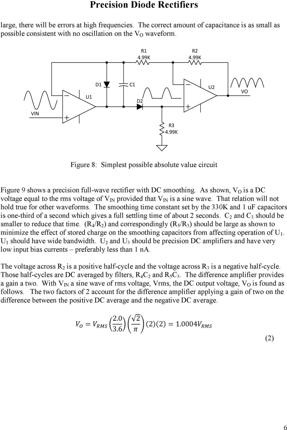 Precision Diode Rectifiers Pdf Waveform From Rectifier Circuit It Can Be Seen The As Shown V O Is A Dc Voltage Equal To Rms Of In 7 Figure 9 Full Wave