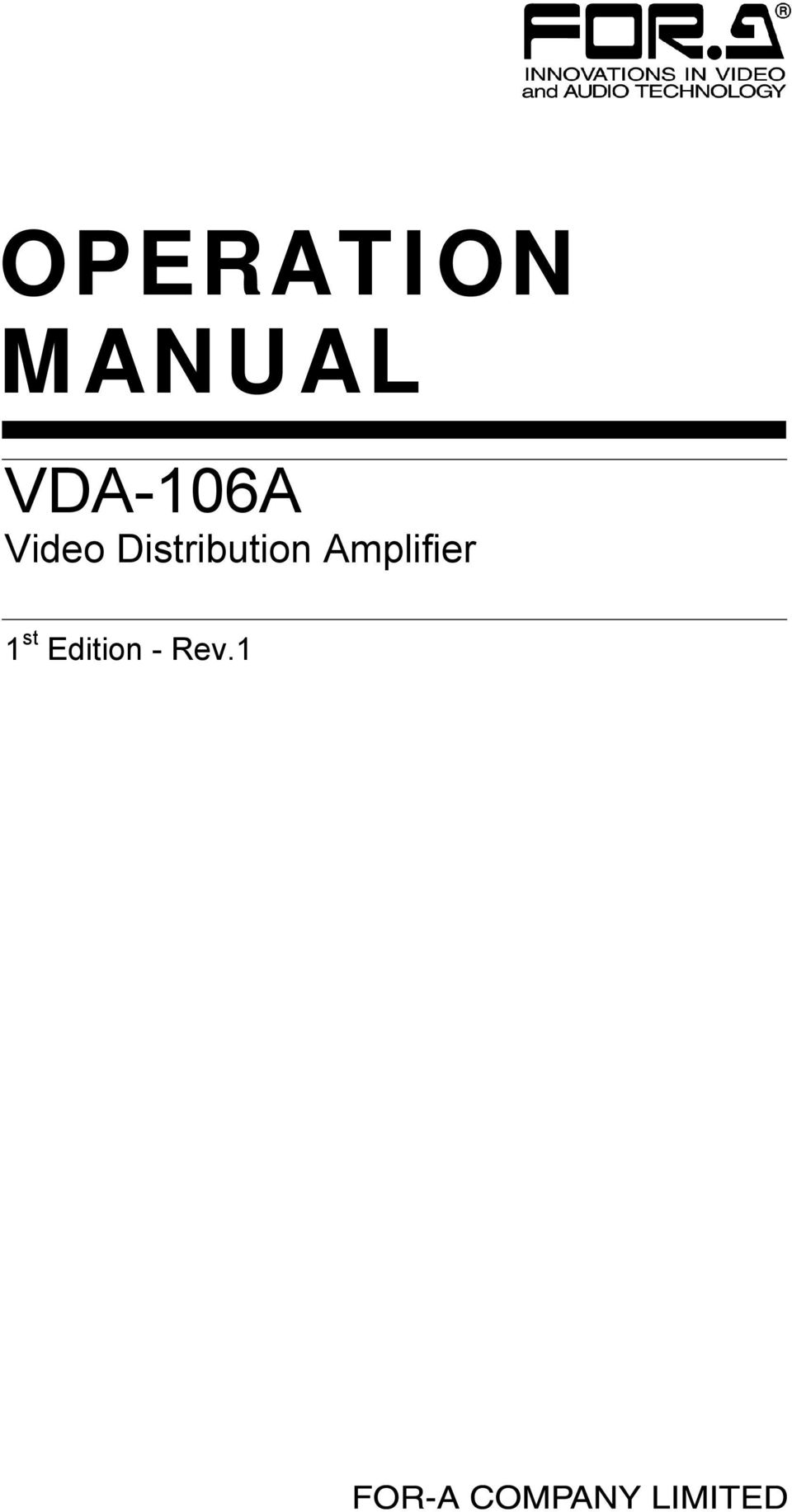 Operation Manual Vda 106a Video Distribution Amplifier 1 St The Audio