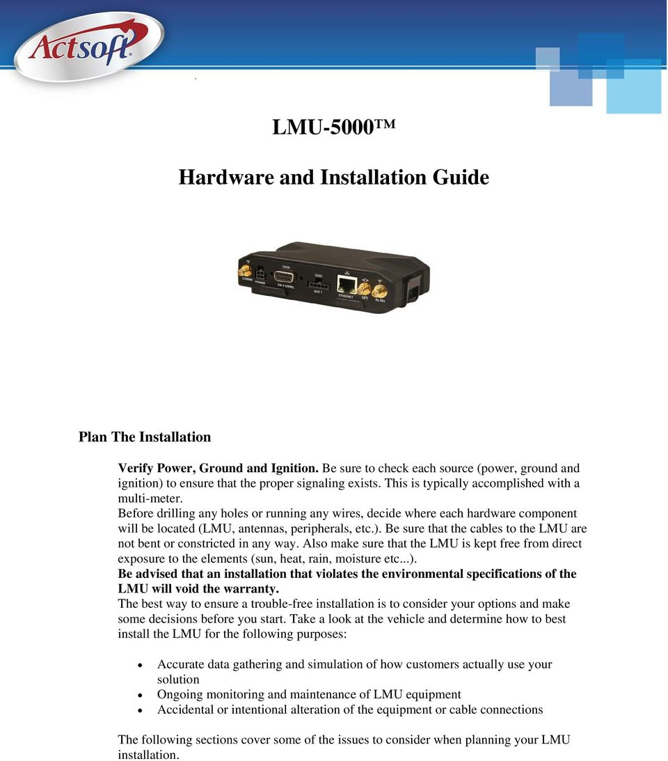 Lmu Hardware And Installation Guide Pdf Axxess Gmos 04 Install Be Sure That The Cables To Are Not Bent Or Constricted In Any Way