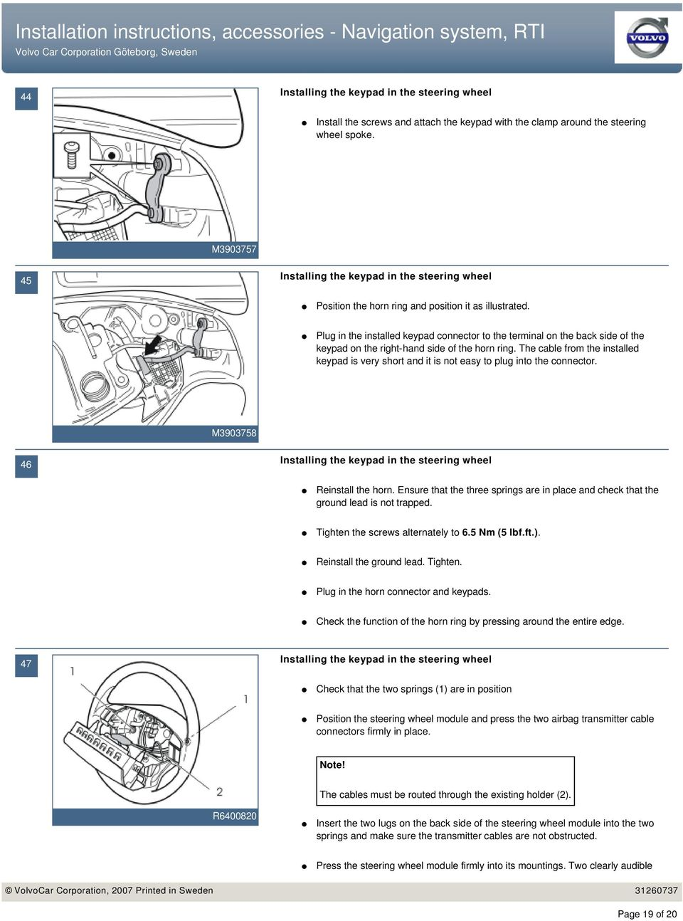 Installation instructions, accessories - Navigation system