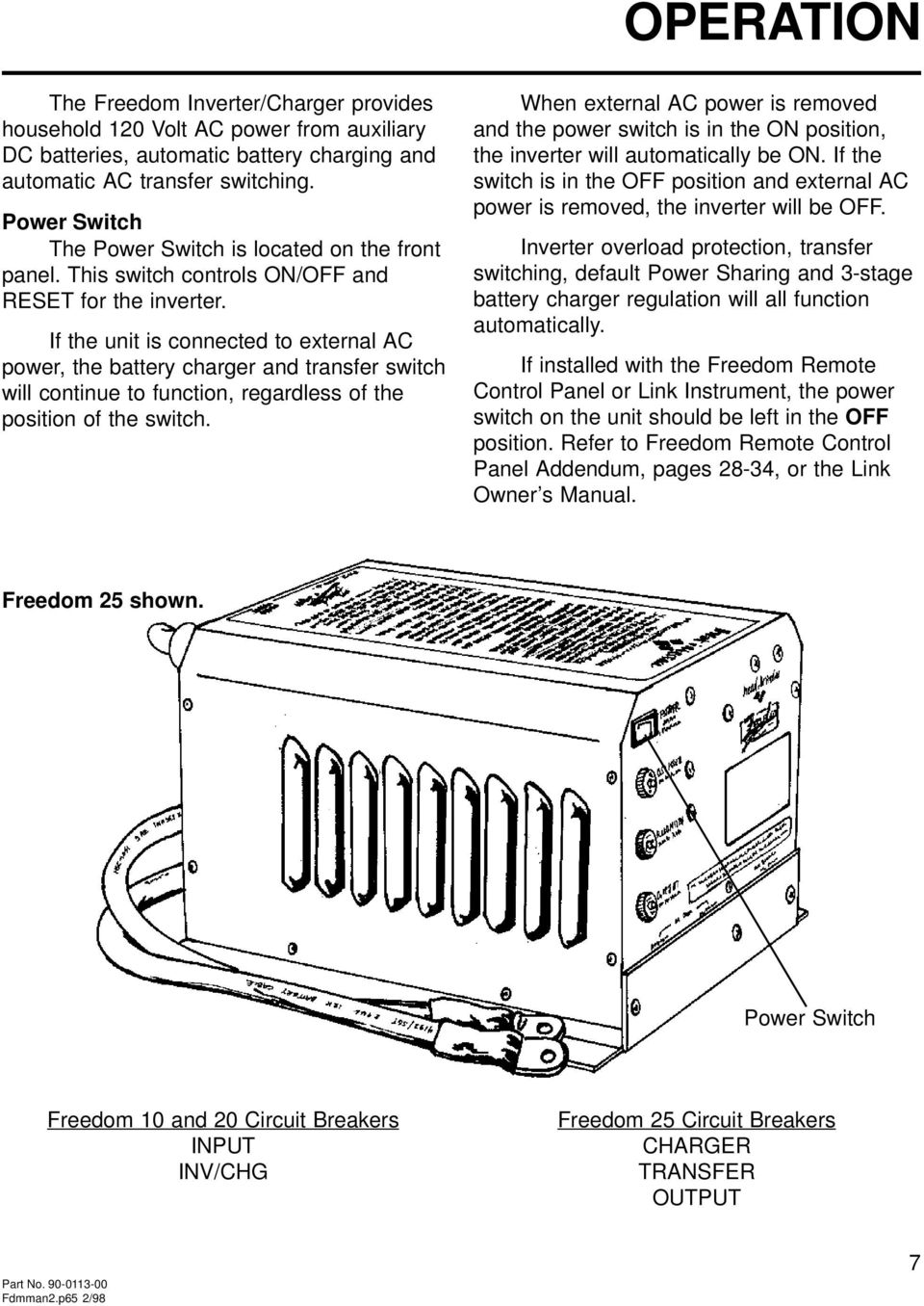 OWNER S MANUAL FREEDOM COMBI TM INVERTER/CHARGERS FREEDOM MODELS 10, 15, 20,  25. A Valley Forge Company. Part No Fdmman2. - PDF Free DownloadDocPlayer.net