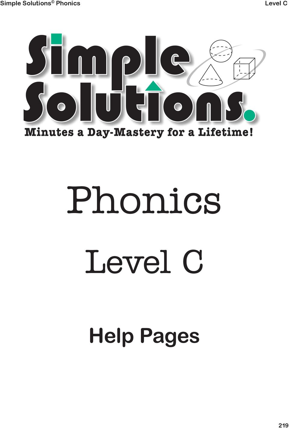 Simple Solutions Phonics  Phonics  Level C  Help Pages - PDF