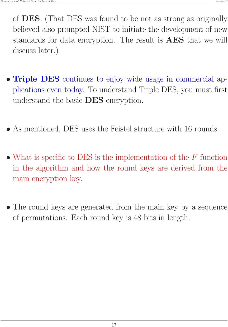 Lecture 3: Block Ciphers and the Data Encryption Standard