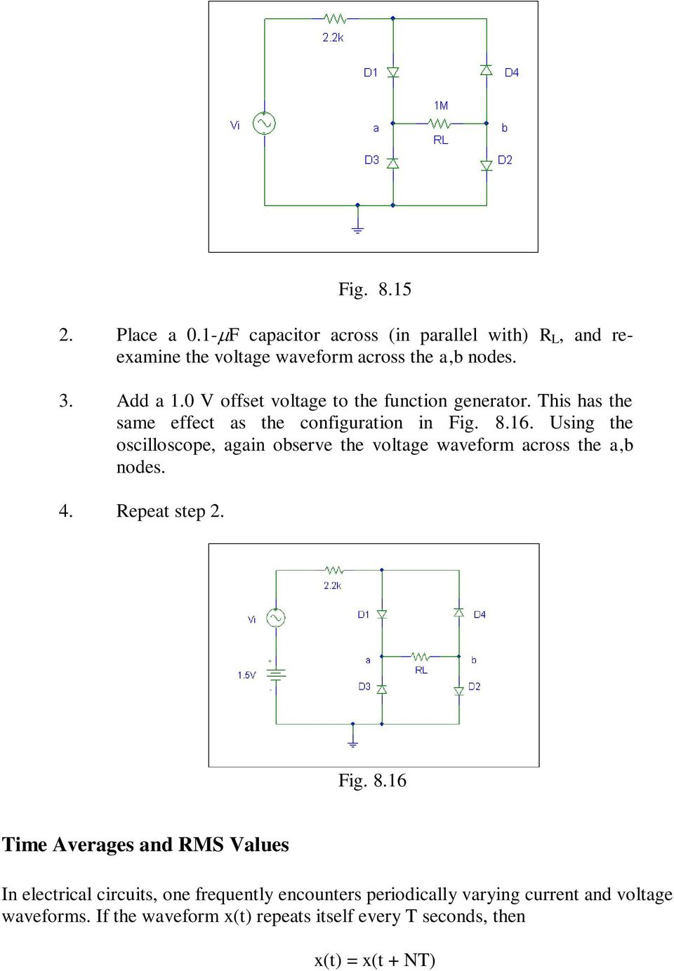 Diode Circuits Laboratory Fig 81a 81b Pdf Gt Ac Power Filter And Phone Line Homemade Circuit Using The Oscilloscope Again Observe Voltage Waveform Across Ab Nodes