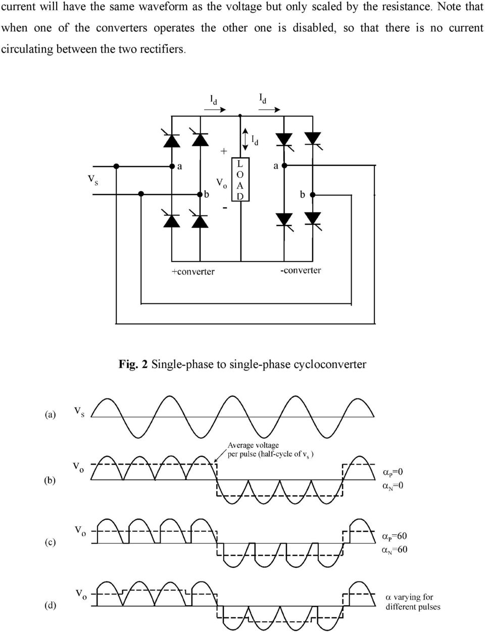 Cycloconverters Fig1 Block Diagram Of A Cycloconverter Pdf Dc Motor Speed Control Circuit Besides 3 Phase Scr Rectifier Note That When One The Converters Operates Other Is