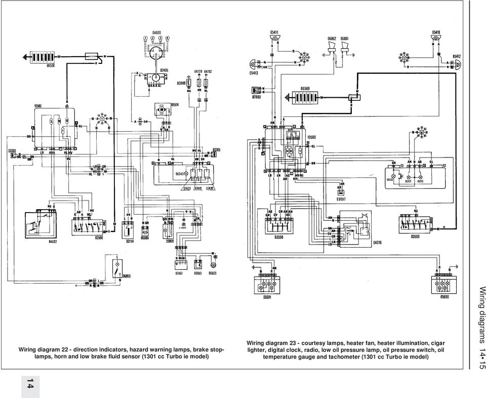 wiring diagrams component key for wiring diagrams 1 to 29 note not oil pump wiring diagram heater illumination, cigar lighter, digital clock, radio, low oil pressure lamp,