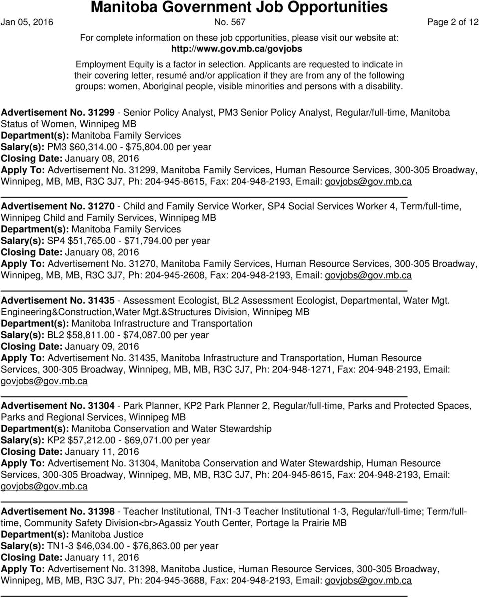 Manitoba Government Job Opportunities Advertisement No  201