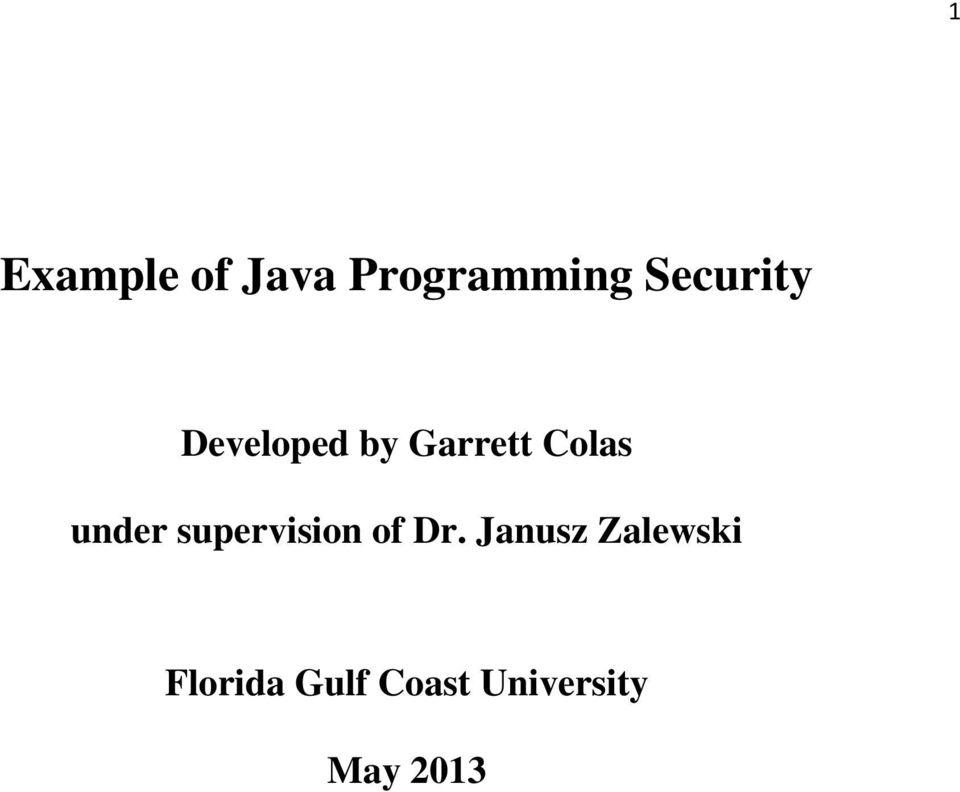 Example of Java Programming Security - PDF