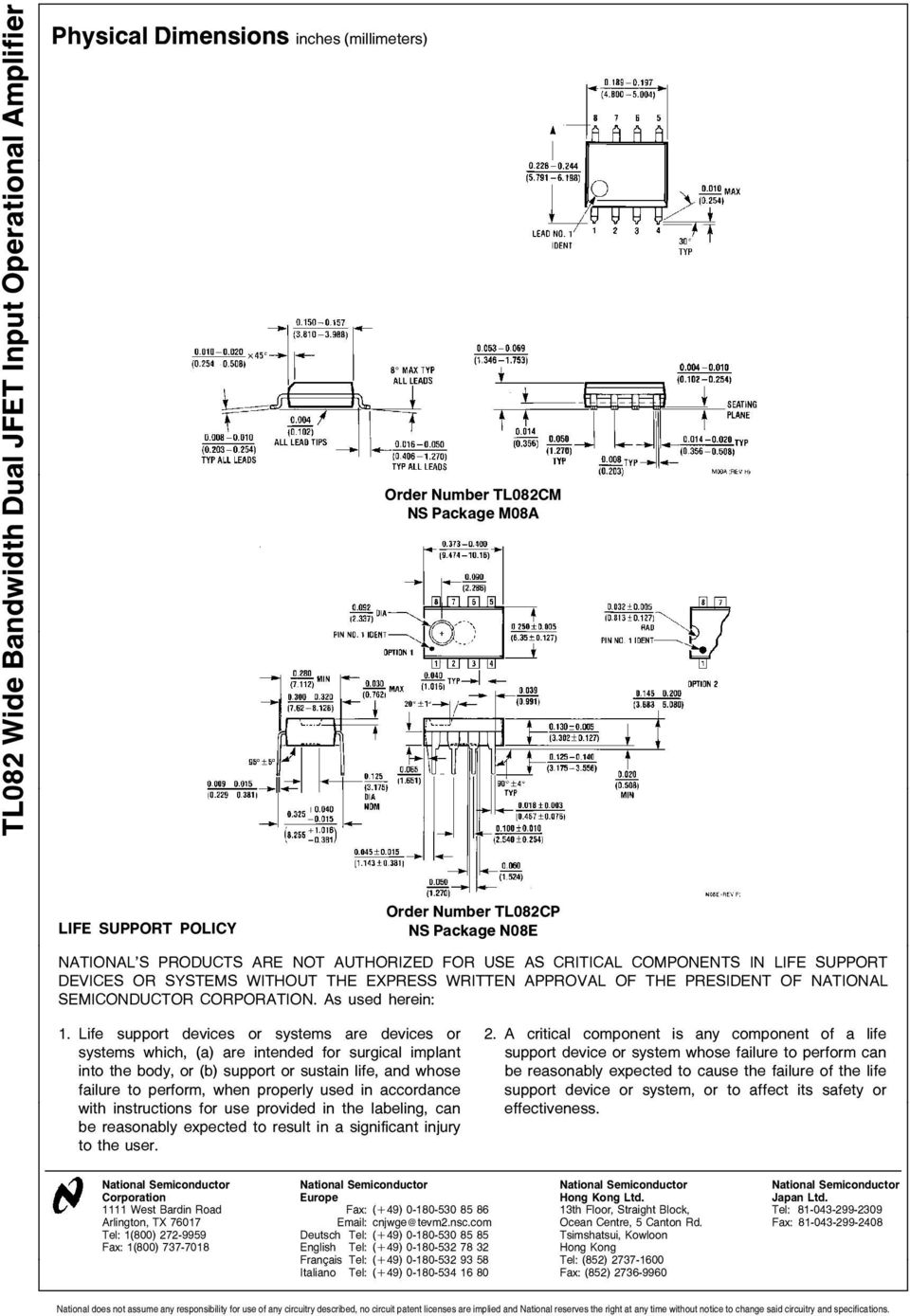 Tl082 Wide Bandwidth Dual Jfet Input Operational Amplifier Pdf Tone Control Circuit Diagrams And Using Audio Ic Used Herein 1 Life Support Devices Or Systems Are 2 A Critical Component Is