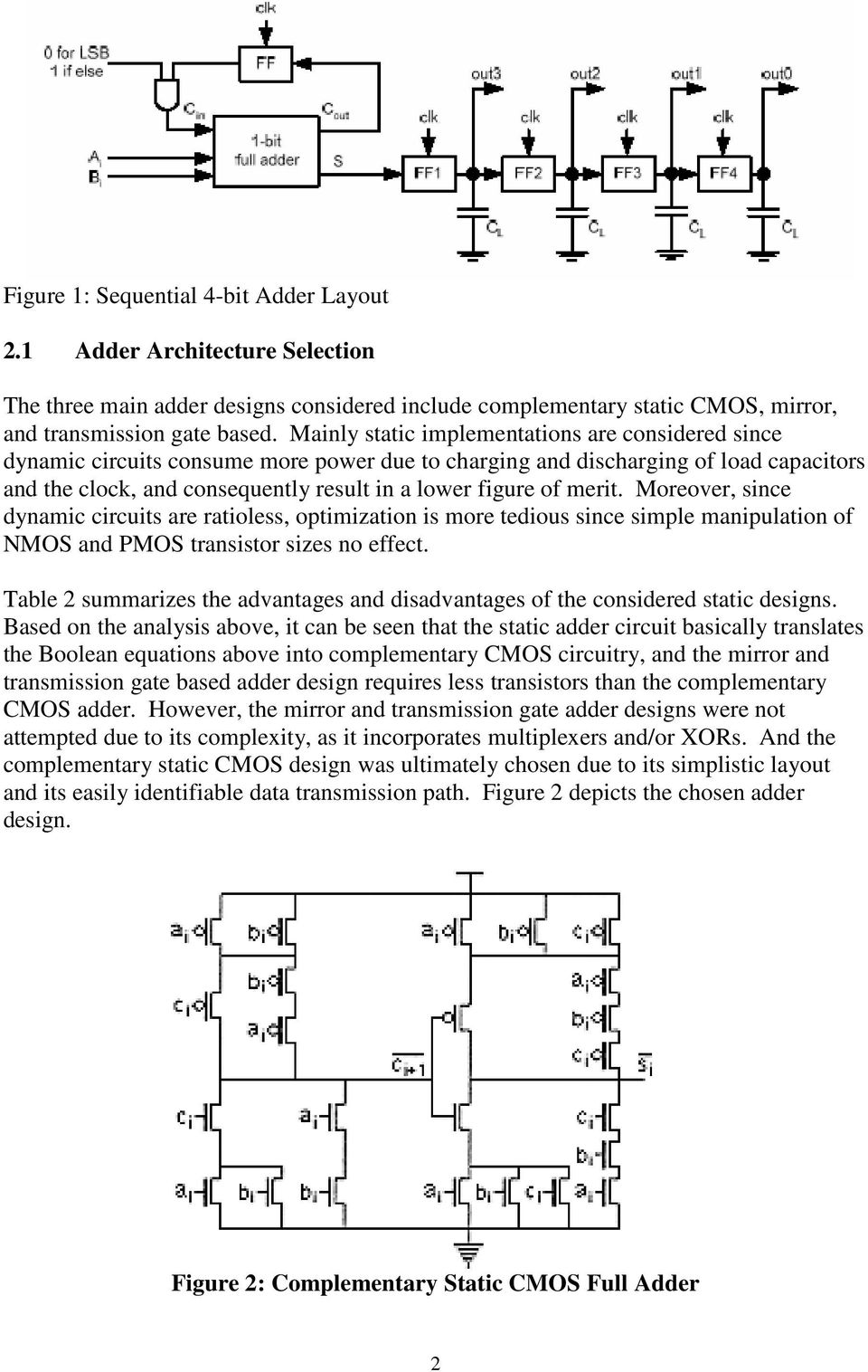 Sequential 4 Bit Adder Design Report Pdf Thus A 1bit Full Can Be Realized By The Following Circuit Moreover Since Dynamic Circuits Are Ratioless Optimization Is More Tedious Simple