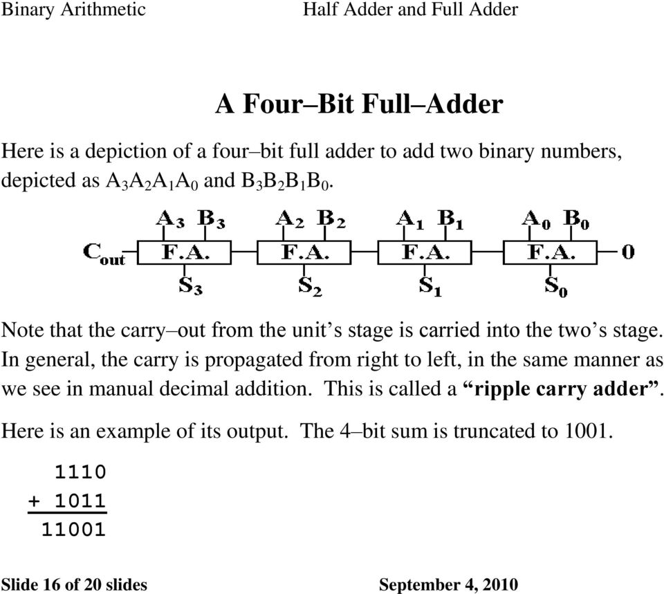 Binary Adders Half And Full Pdf Adding Numbers In General The Carry Is Propagated From Right To Left Same Manner