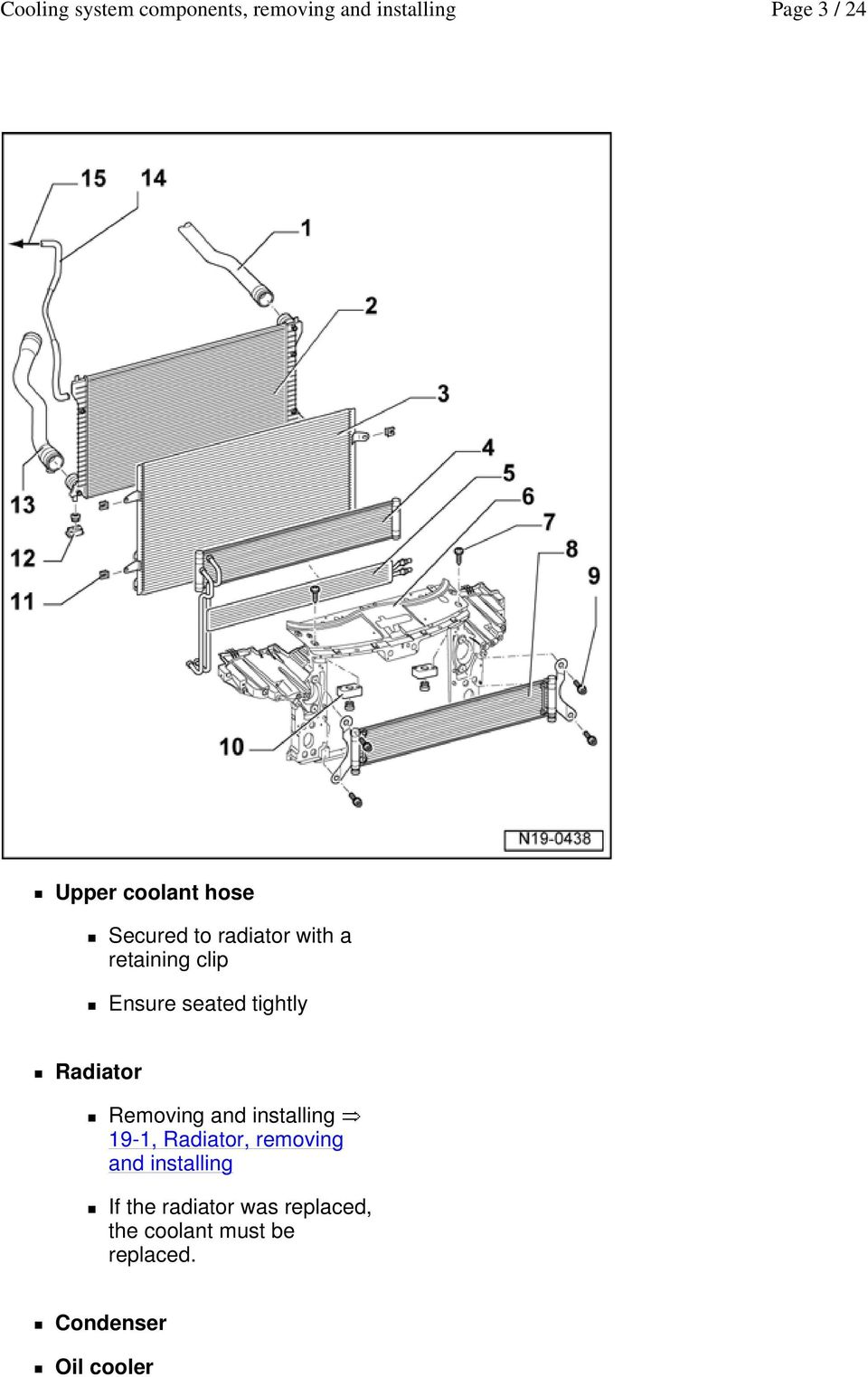 installing 19-1, Radiator, removing and installing If the