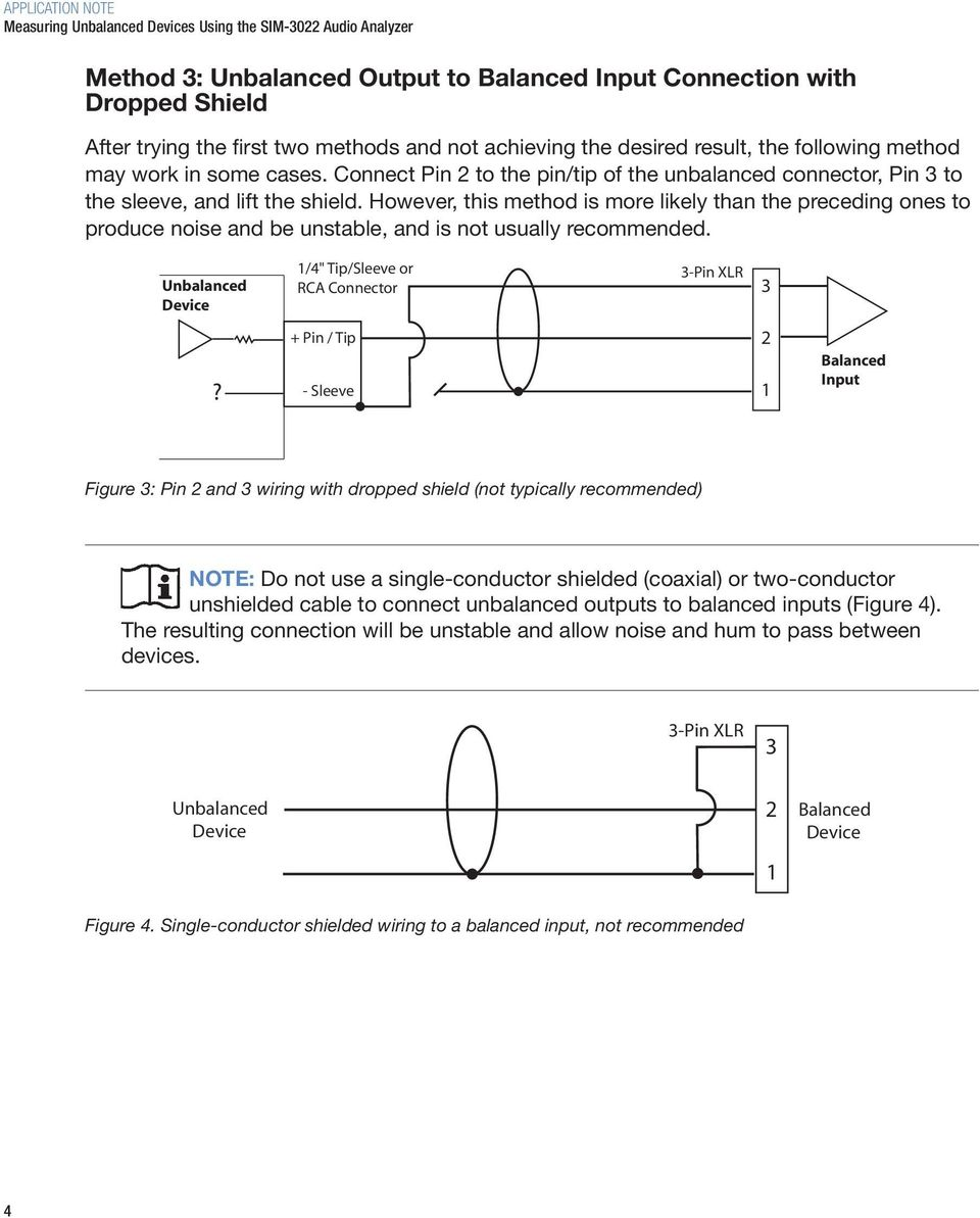 Unbalanced Output To Balanced Input Wiring Methods Pdf Xlr 1 4 Diagram However This Method Is More Likely Than The Preceding Ones Produce Noise And Be