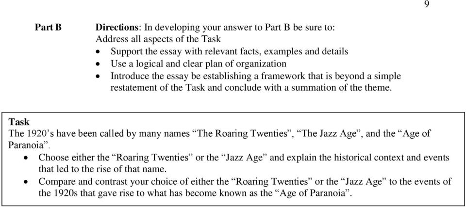 Dbq On The Roaring Twenties Historical Context Task You Are Not  Task The  S Have Been Called By Many Names The Roaring Twenties The  Jazz Essays On Science And Technology also Health And Social Care Essays  Thesis Argumentative Essay
