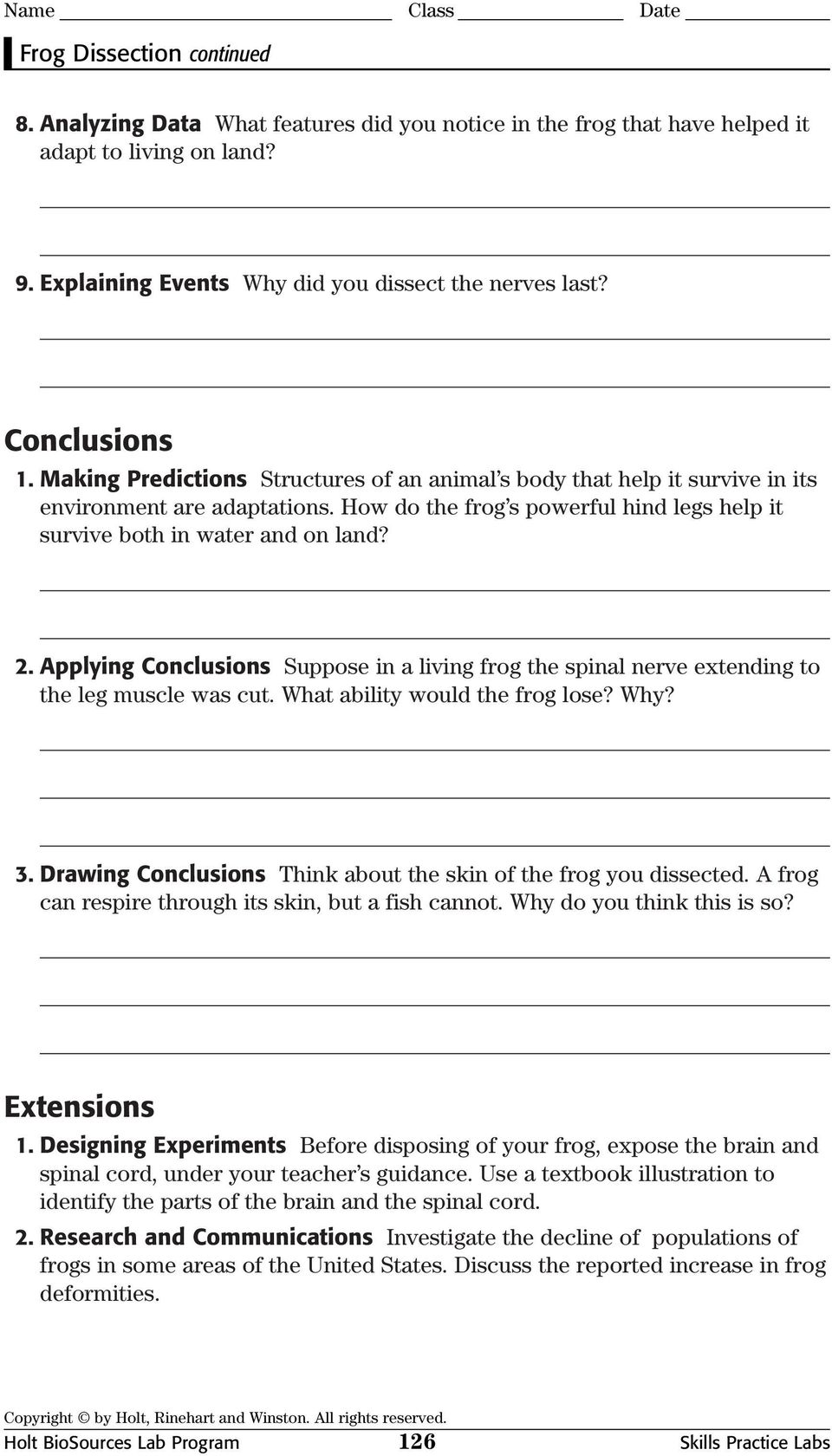 Frog Dissection. Procedure - PDF