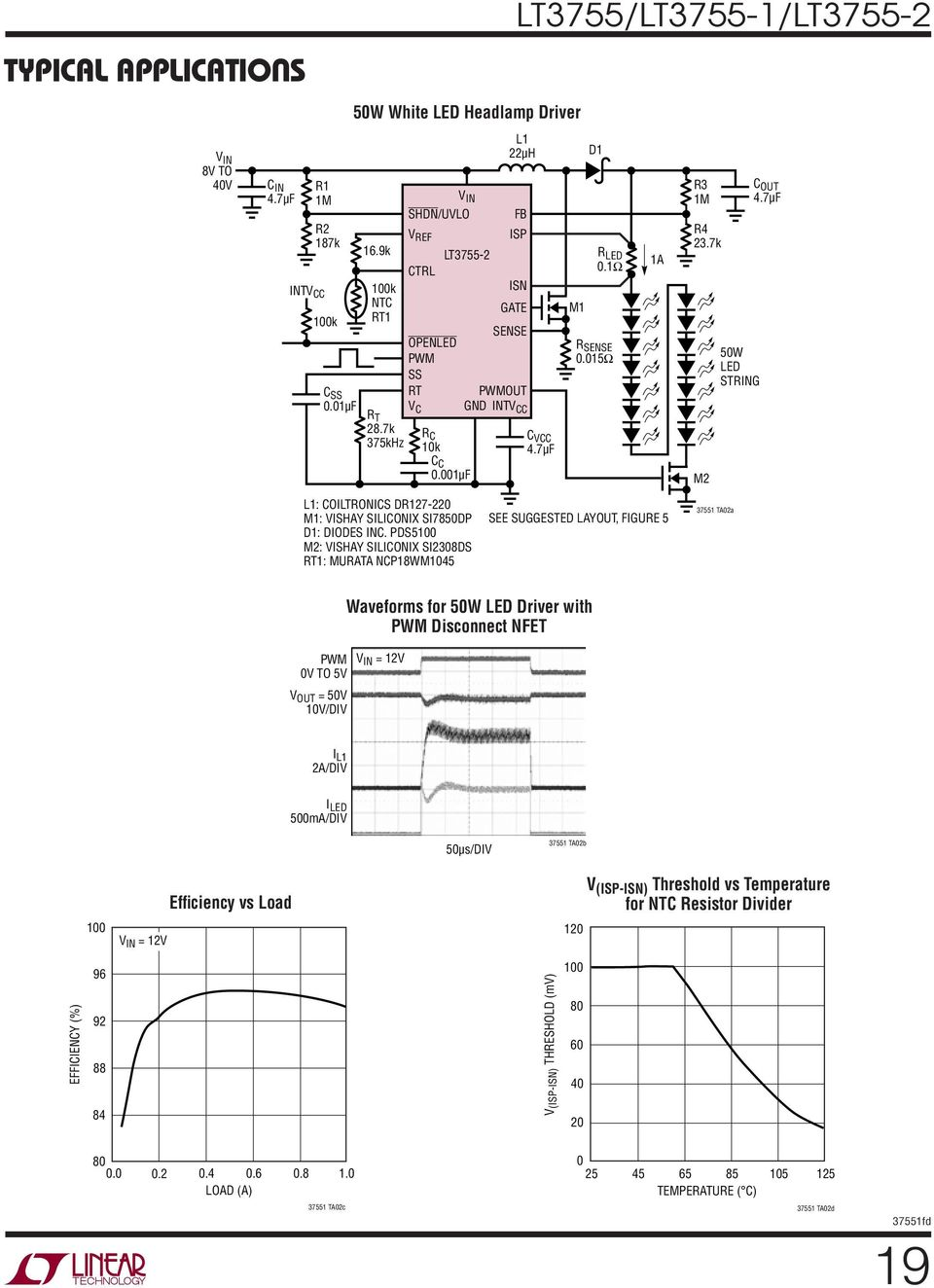 Lt3755 1 Lt V In 75v Out Led Controllers Features Figure 2 Hysteretic Buck Driver Circuit 7k M2 5w String C L1 Coiltronics Dr127 22 M1 Vishay