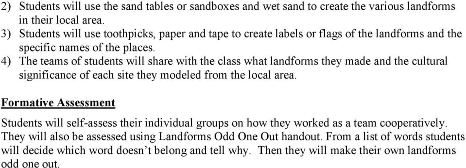 4) The teams of students will share with the class what landforms they made and the cultural significance of each site they modeled from the local area.