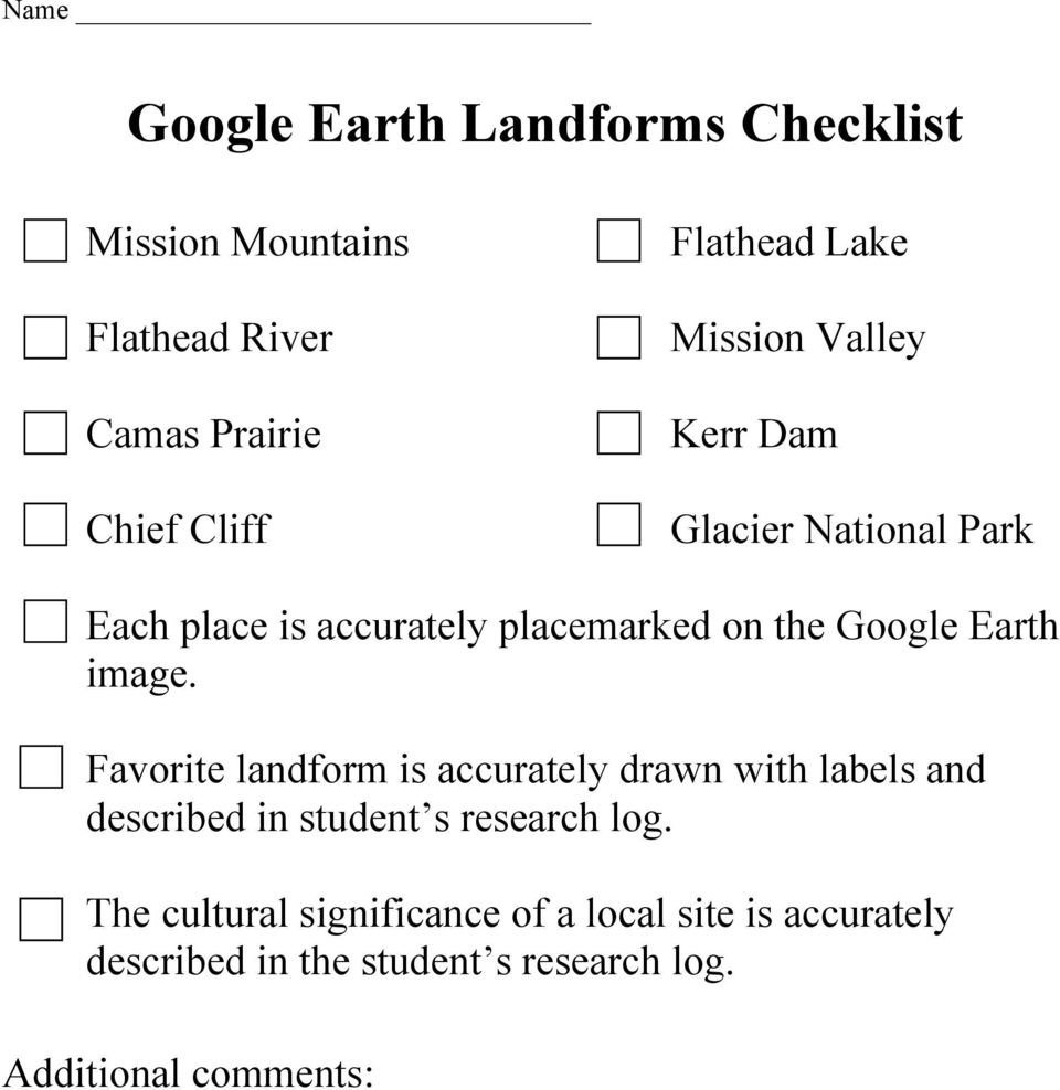 image. Favorite landform is accurately drawn with labels and described in student s research log.