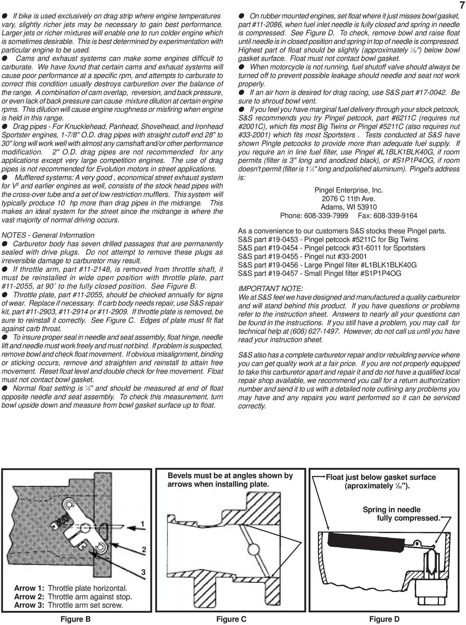 S&S Cycle, Inc  Installation and Jetting Instructions for S&S Super